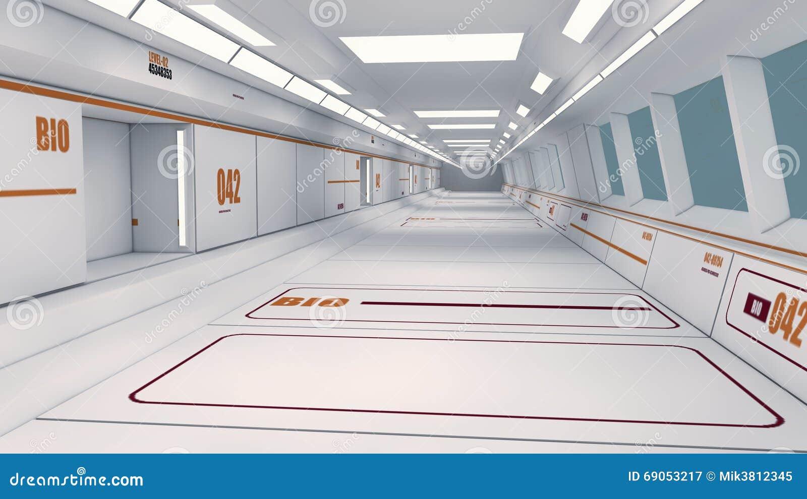 Corridoio futuristico dell interno dell astronave