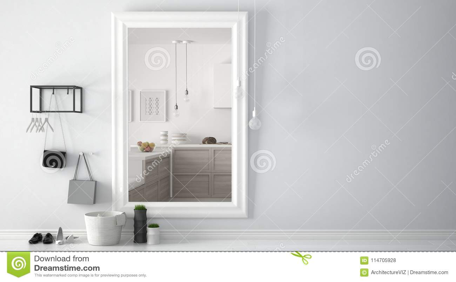 Lo Specchio In Cucina corridoio scandinavo dell'ingresso dell'entrata con lo