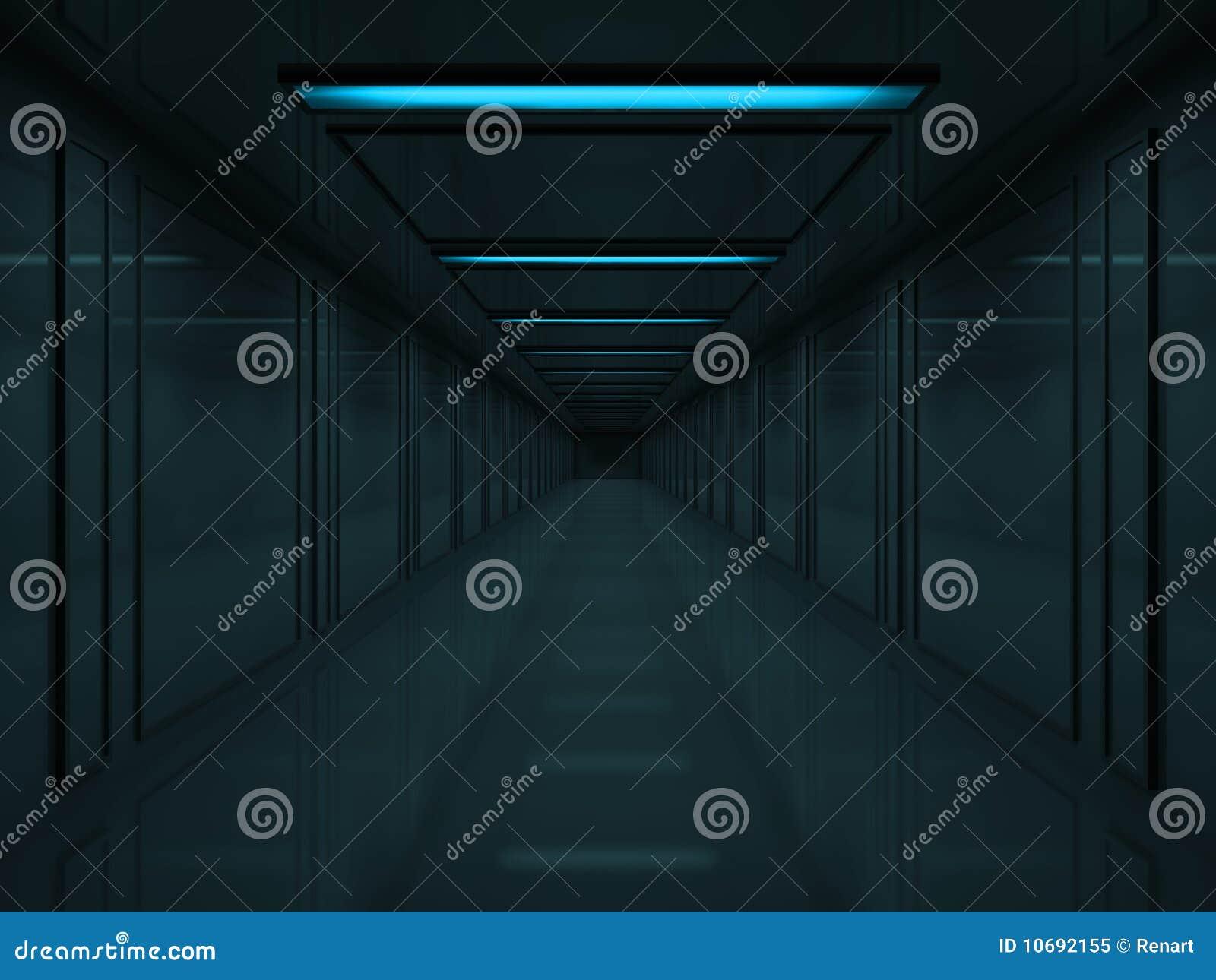 Corridoio Scuro 3d Con Le Lampade Blu Sul Soffitto ...