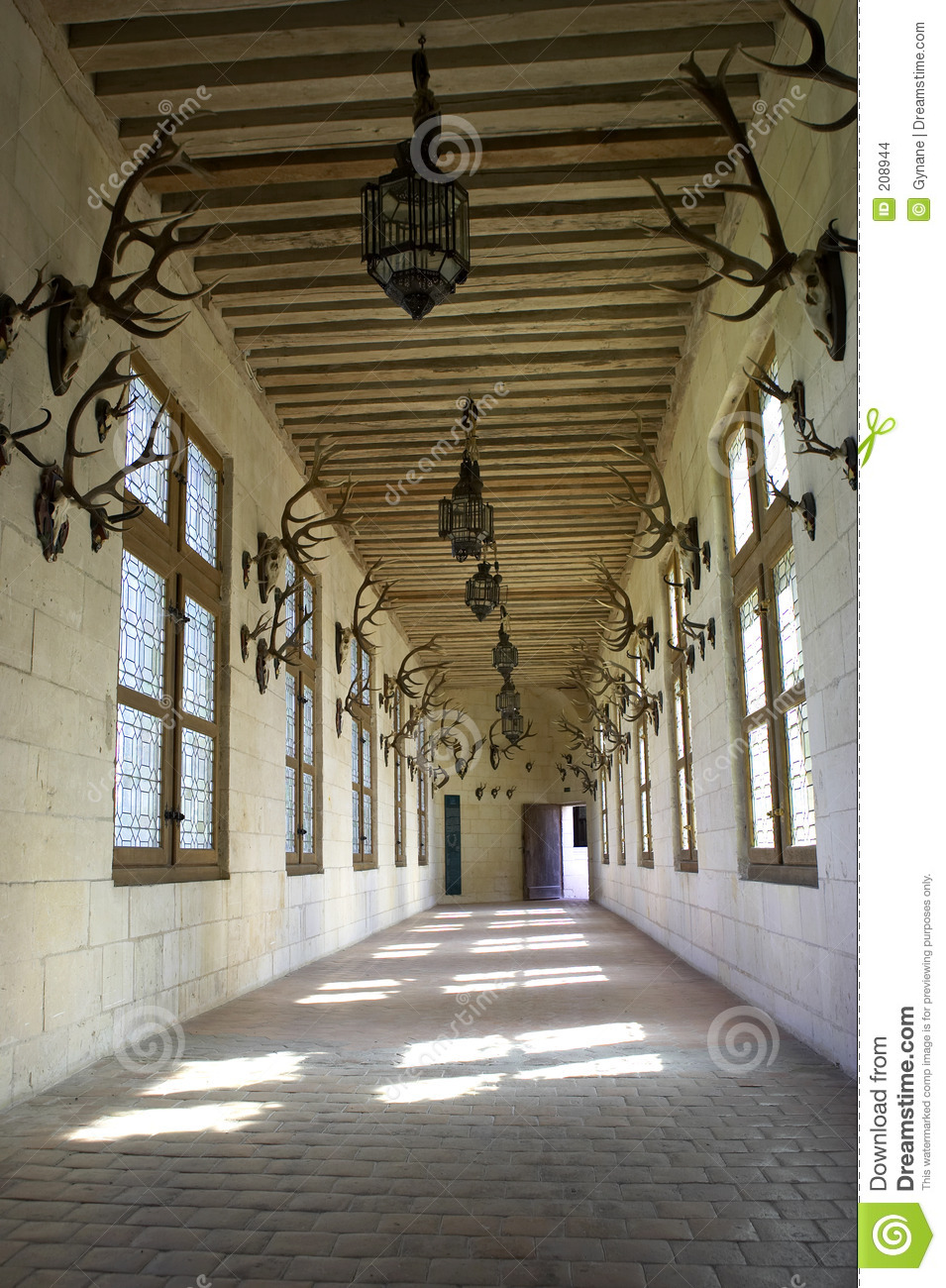 Corridor Displaying Hunting Trophys Chateau De Chambord