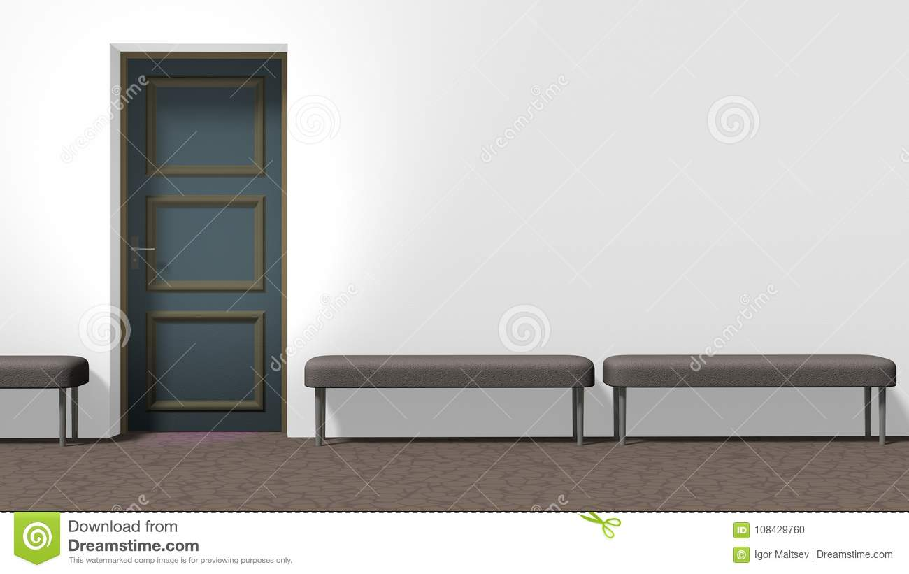 Download Corridor Door And Benches Stock Illustration. Illustration Of  Concept   108429760