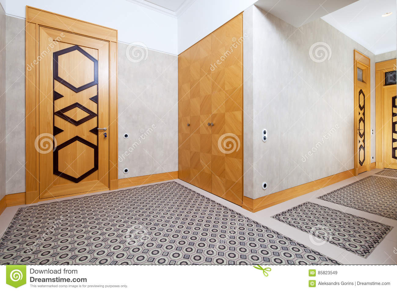 Corridor stock image image of modern mansion mirror