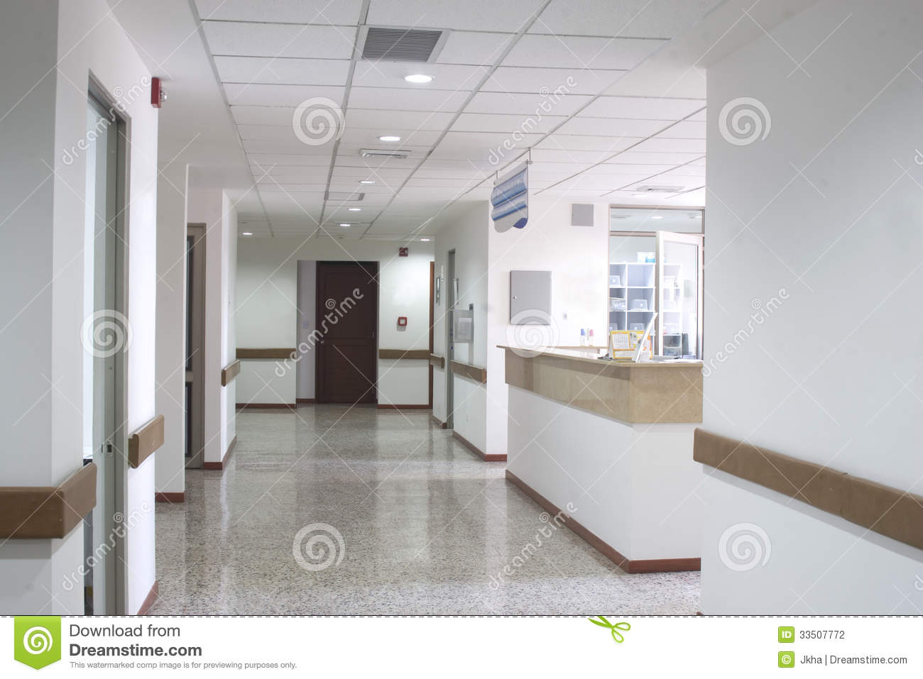 Corridor Interior Inside A Modern Hospital Stock