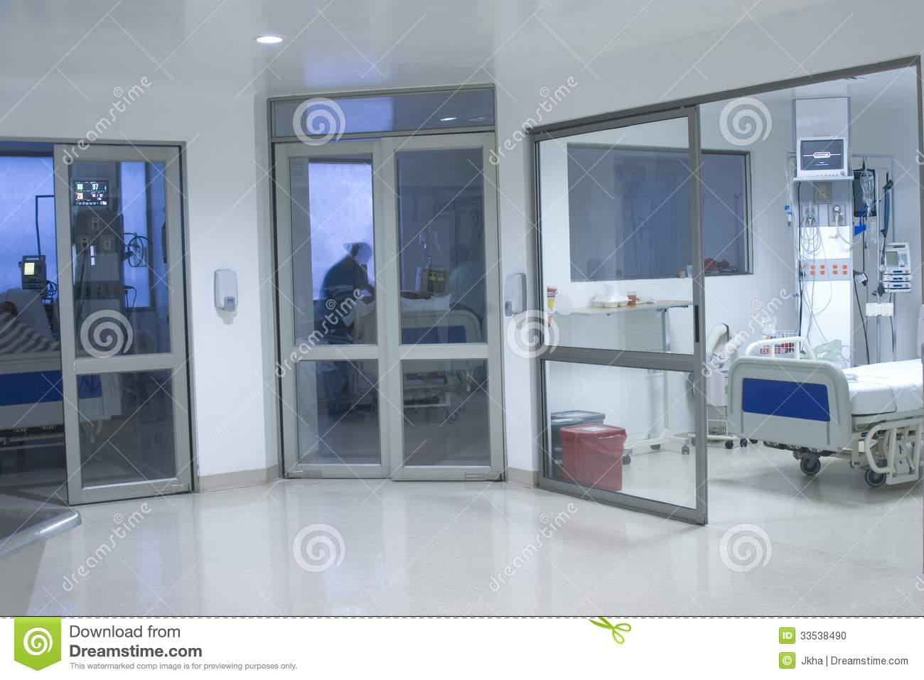 Modern hospital interior - Corridor Interior Inside A Modern Hospital Stock Photo