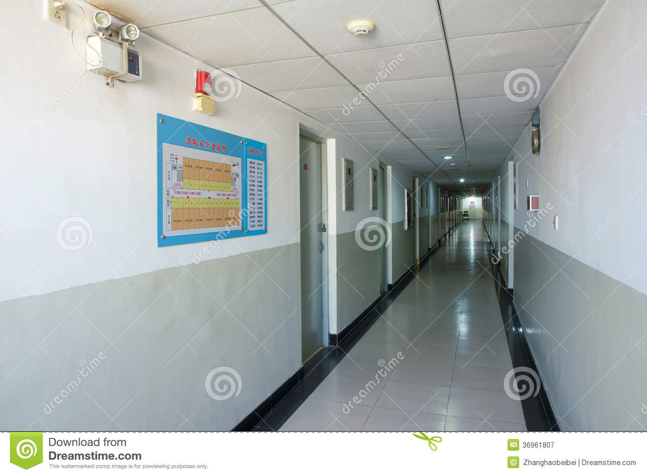 Modern Classroom Building : Corridor royalty free stock photography image