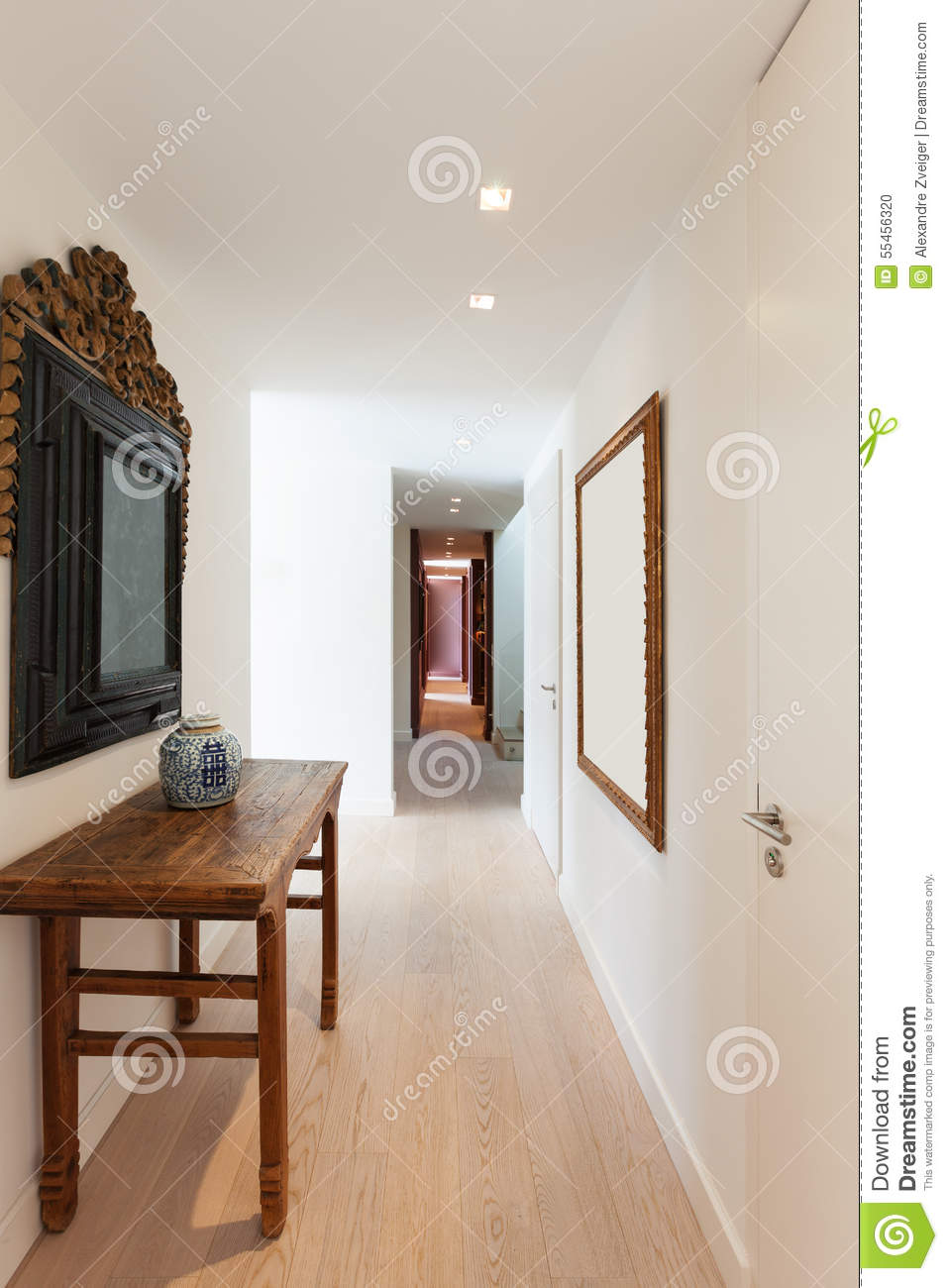 Corridor of a modern apartment stock photo image 55456320 - Decoration couloir d entree ...