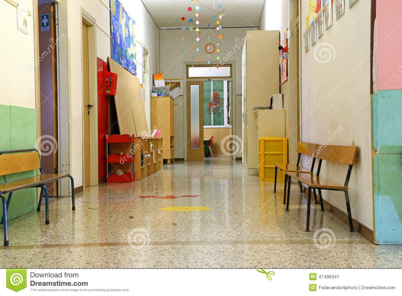 corridor of a nursery school during the holidays without children