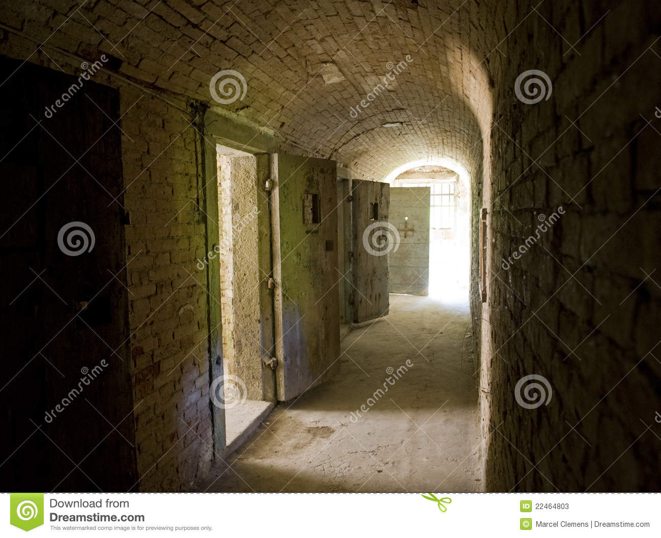Corridor To Isolation Cells In An Abandoned Prison Stock