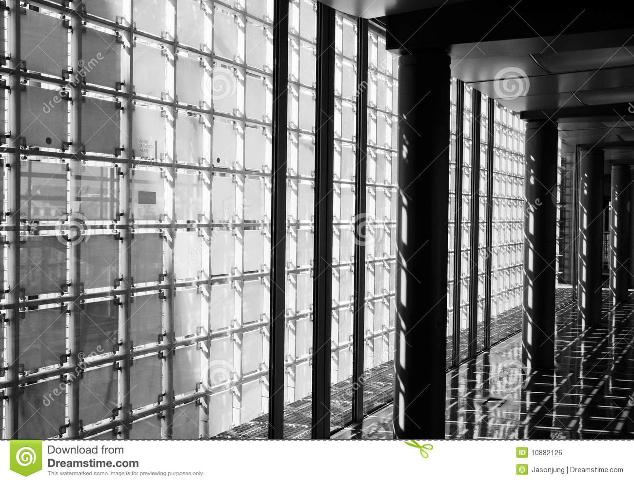 Corridor with transparent wall stock photo image of decoration