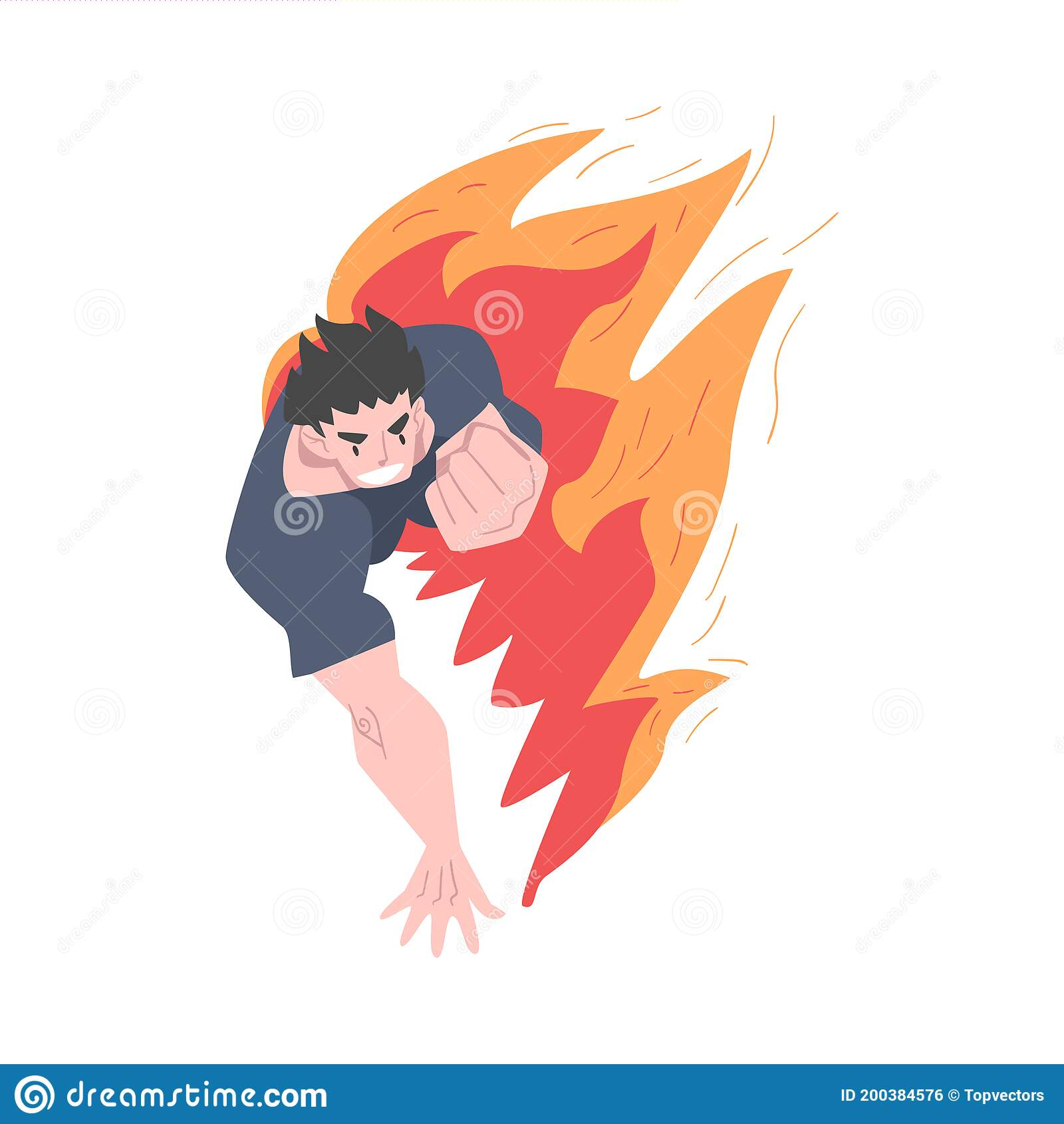 Corriendo A Un Hombre En Llamas Quemando Furia Estrés Agotamiento Problemas Emocionales Concepto De Ilustración Vectorial De Ilustración Del Vector Ilustración De Crisis Rojo 200384576