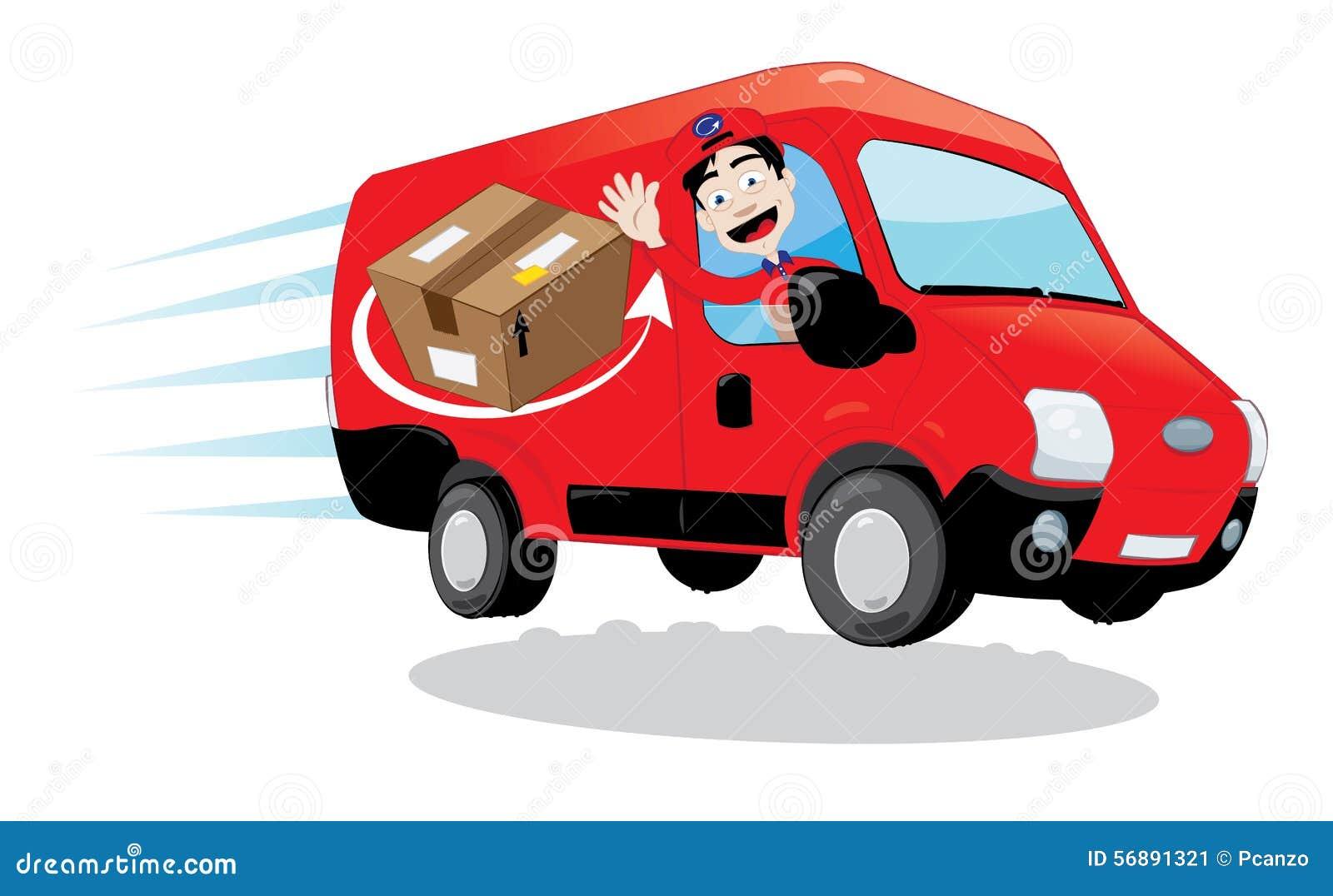 Corriere che conduce un furgone di consegna