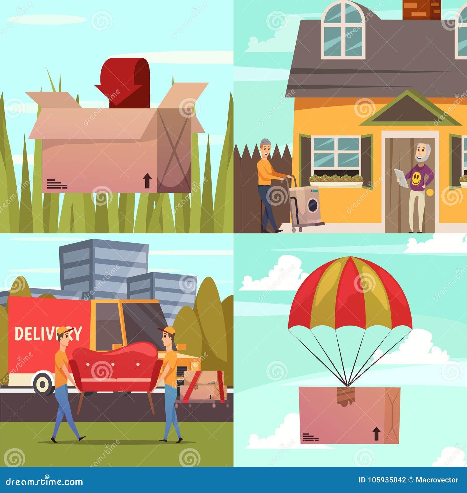 Corriere Delivery 4 icone ortogonali