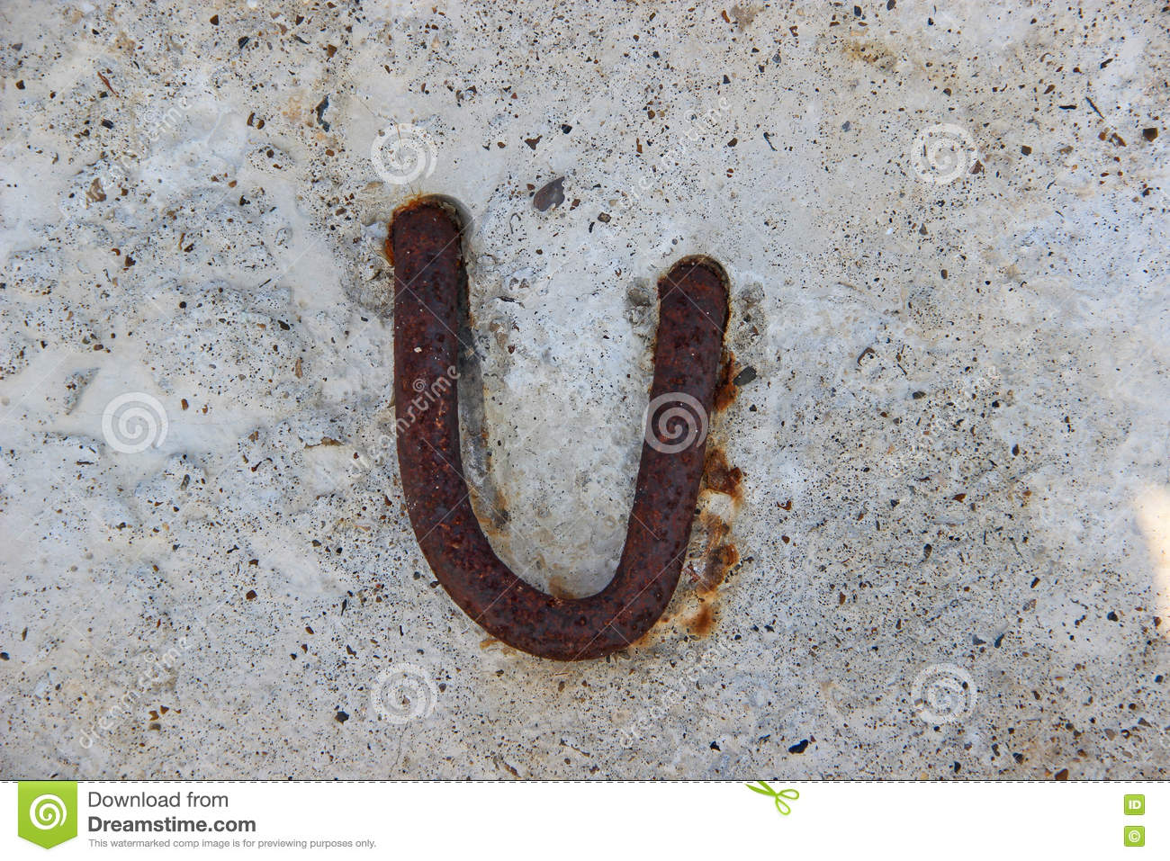 A Corroded Lifting Lug In A Reinforced Concrete Slab Stock Photo ...