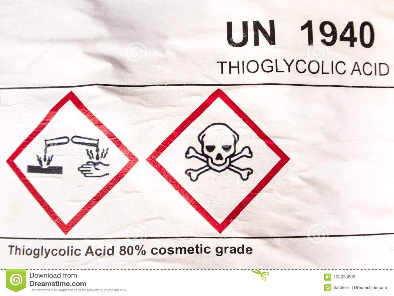 Corrosive Material Symbol On Label At The Acid Container Stock Photo