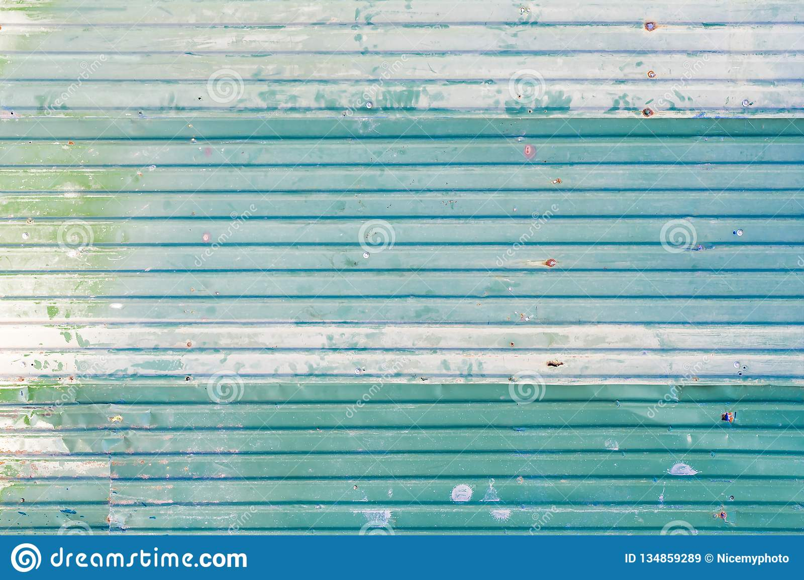 Corrugated Galvanized steel green color iron metal sheet with rusty surface for texture and background