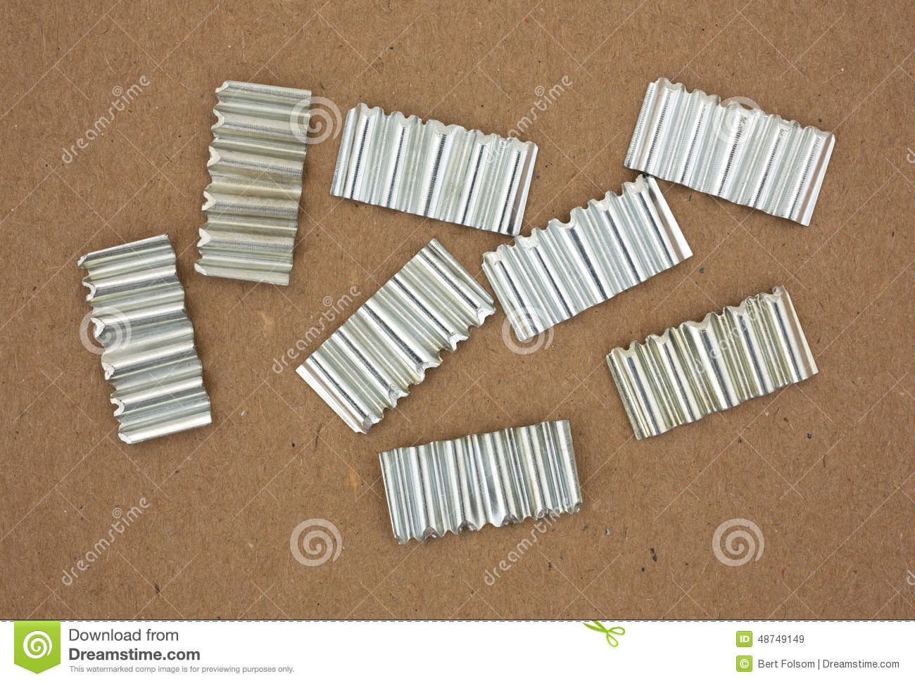 Corrugated Joint Fasteners On Cardboard Stock Image