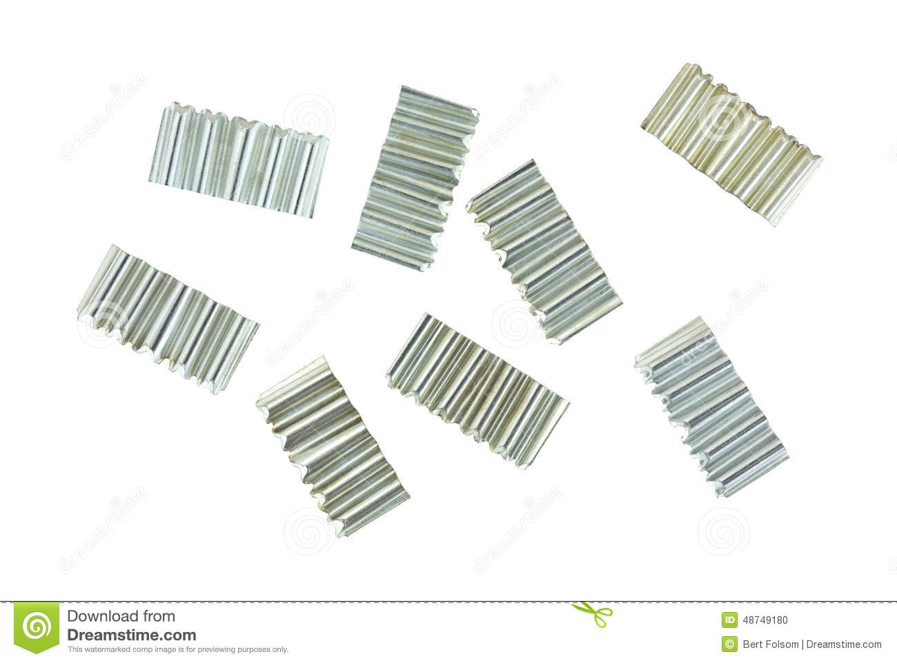 Corrugated Joint Fasteners On White Background Stock