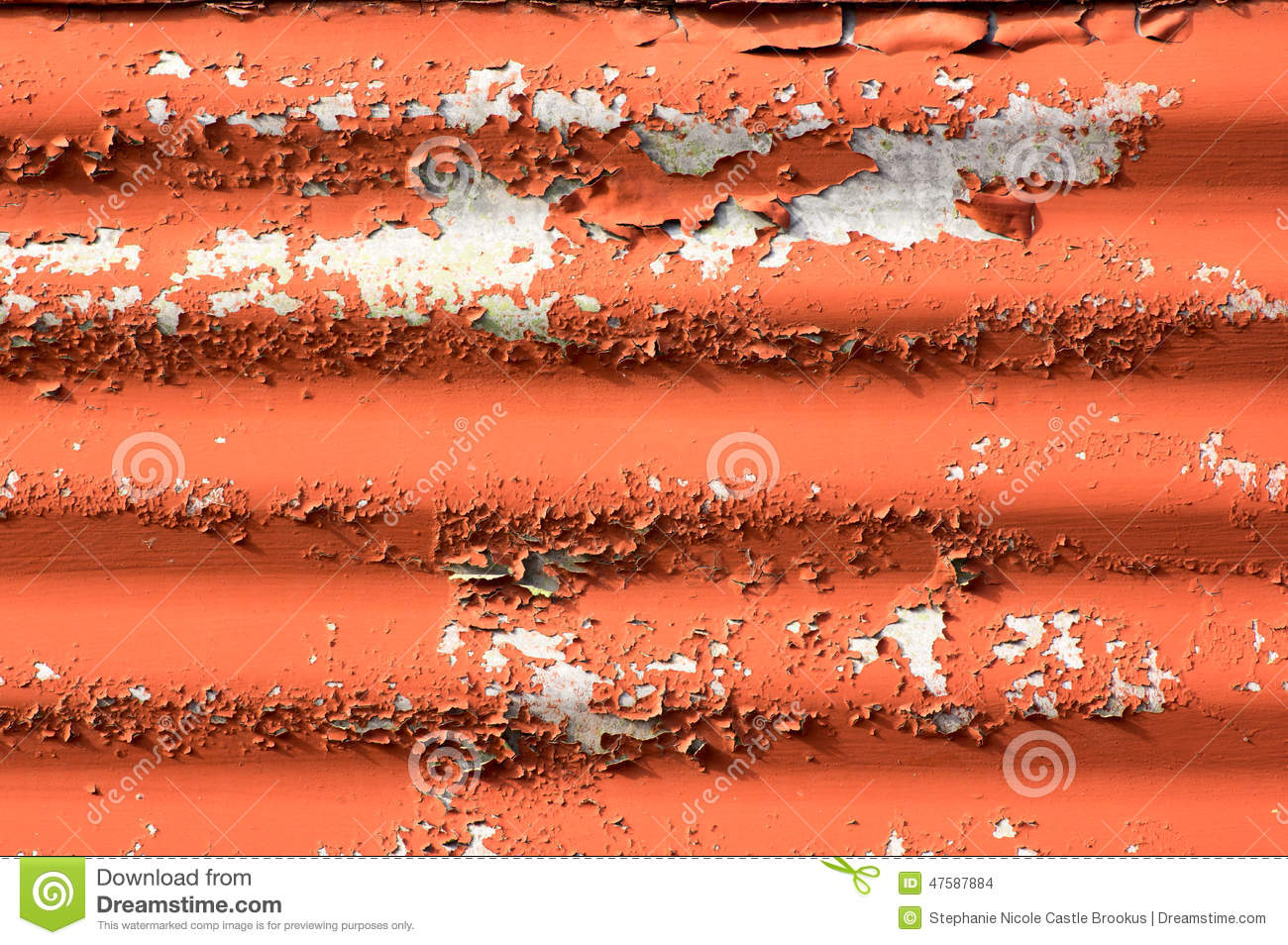 Paint Sheet Metal : Corrugated metal with paint flaking off stock photo