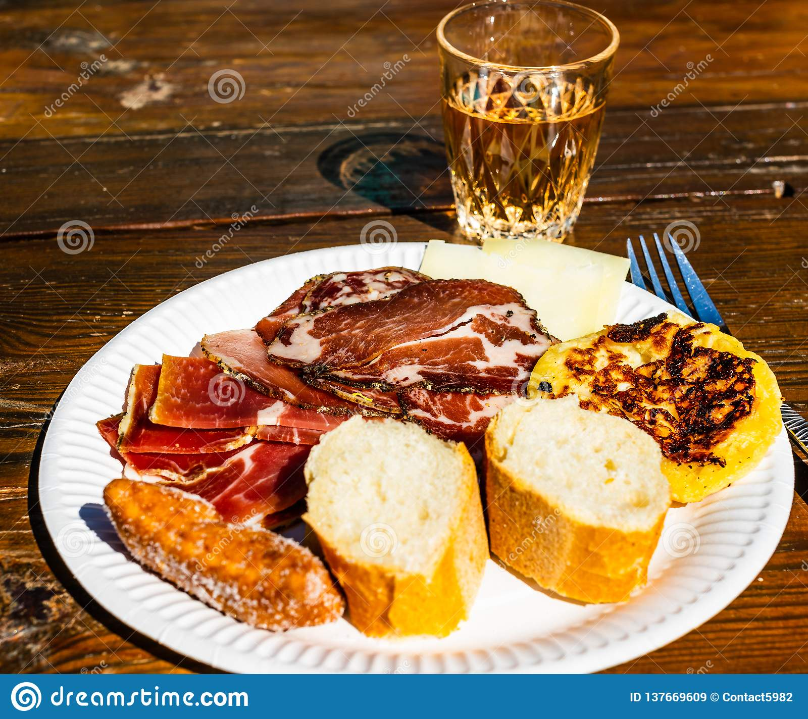 Corsican traditional breakfast. Food and wine.