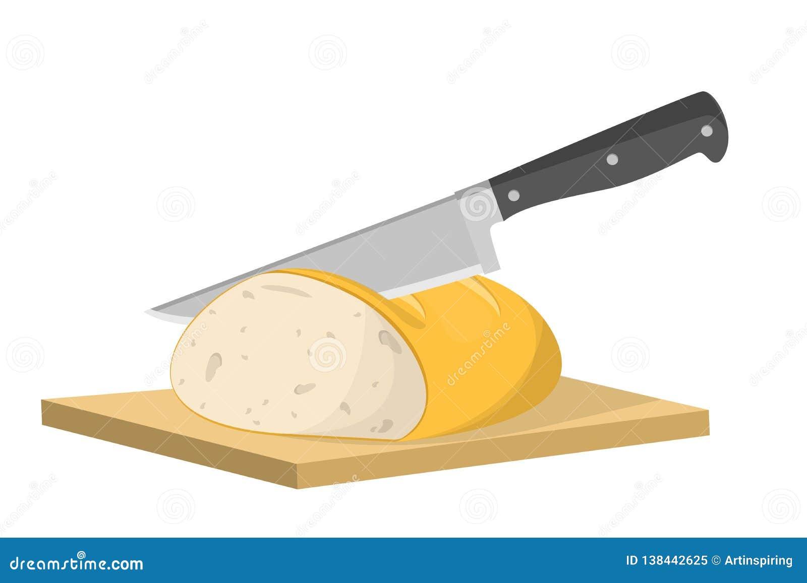 Cortar el pan en rebanada con el cuchillo Cocinar la tostada