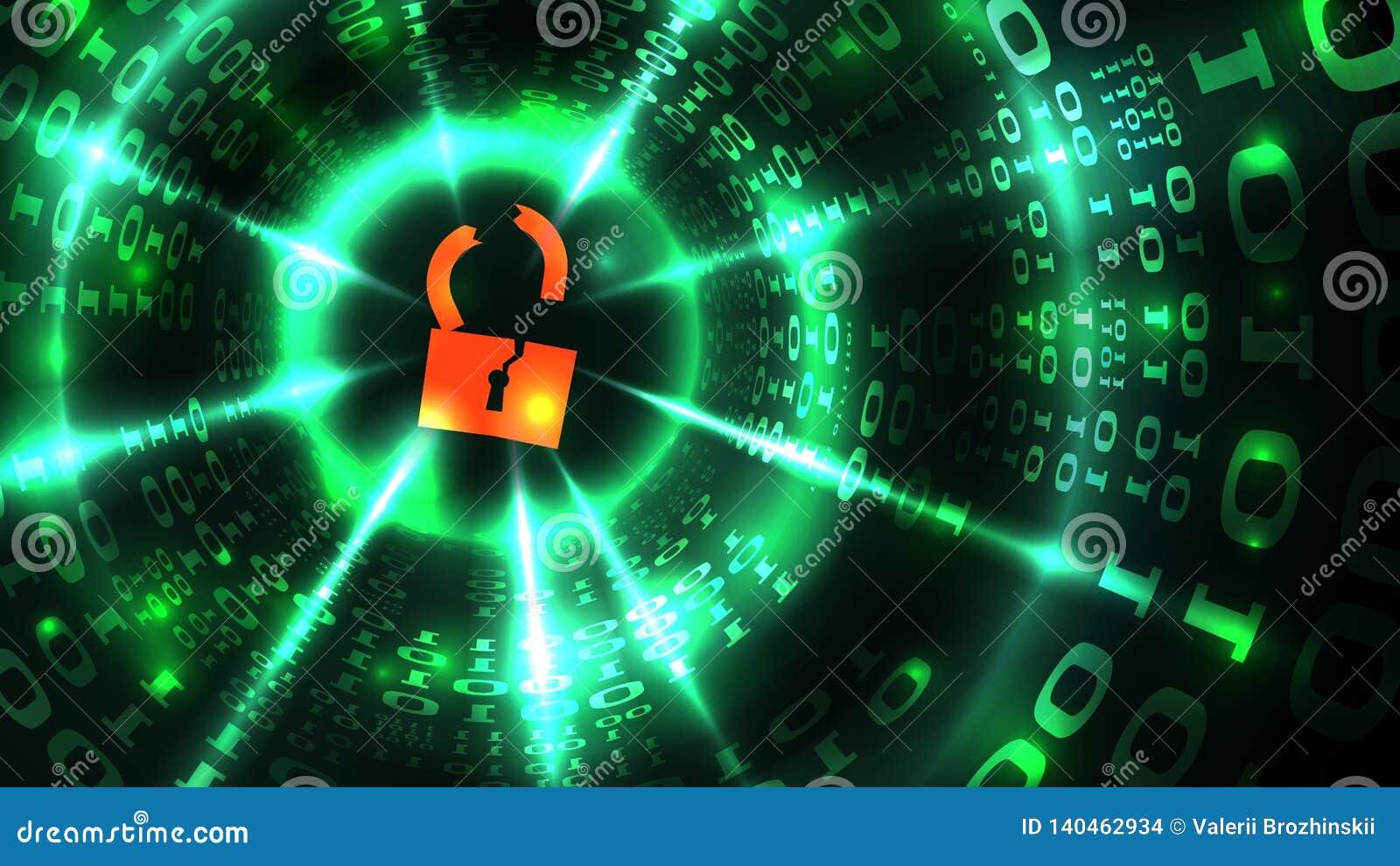 Cortar el sistema informático, base de datos, cuenta social de la red Símbolo cortado de la cerradura en la programación abstract