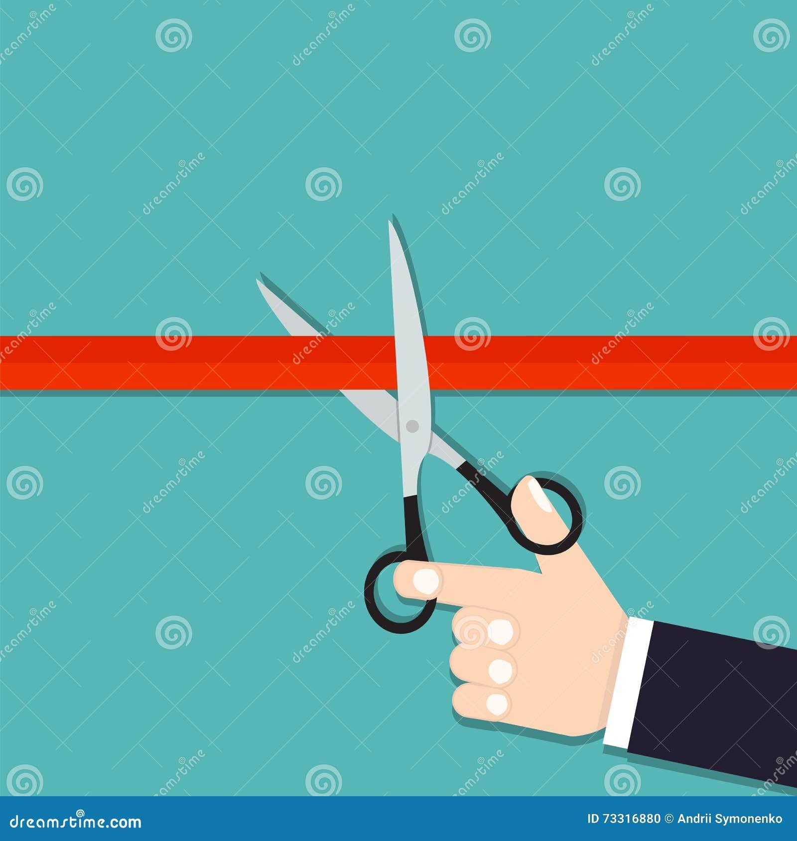 Corte de la cinta Apertura magnífica El venir pronto Las tijeras cortaron el rojo