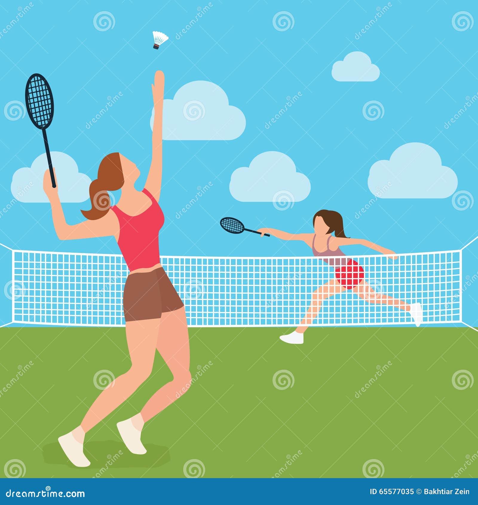 Corte de raquete do badminton do tênis do jogo das meninas da mulher