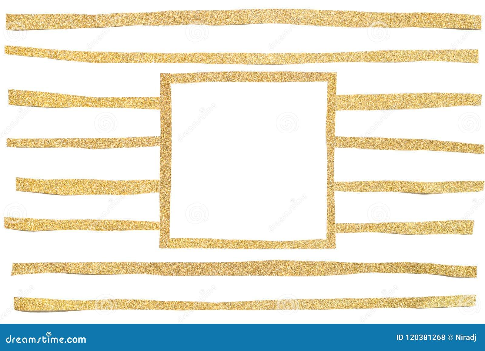 Corte del papel del marco del cuadrado del brillo del oro