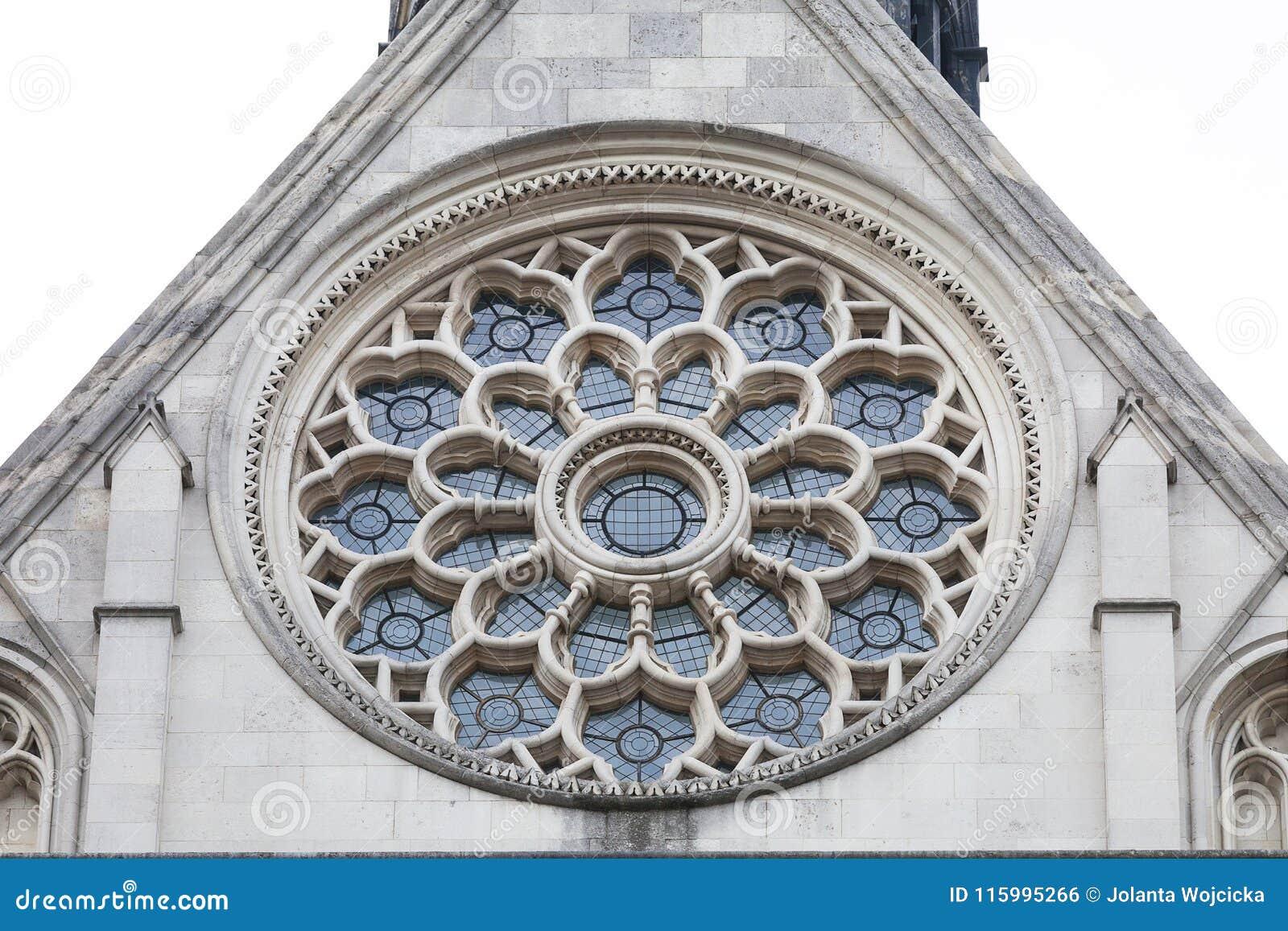 Corte Di Giustizia Reale Costruzione Gotica Di Stile Finestra Rosa