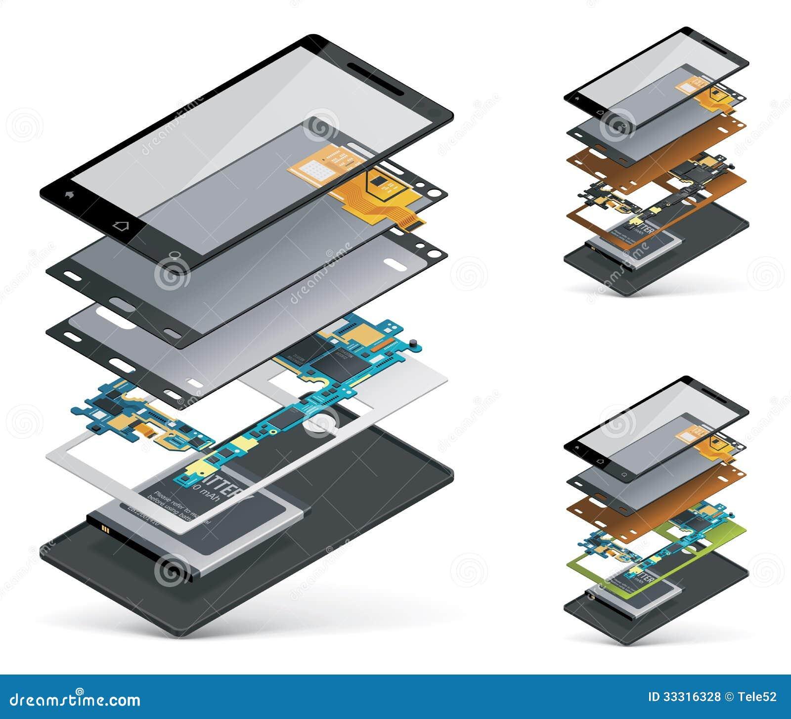 Corte isométrico del smartphone del vector