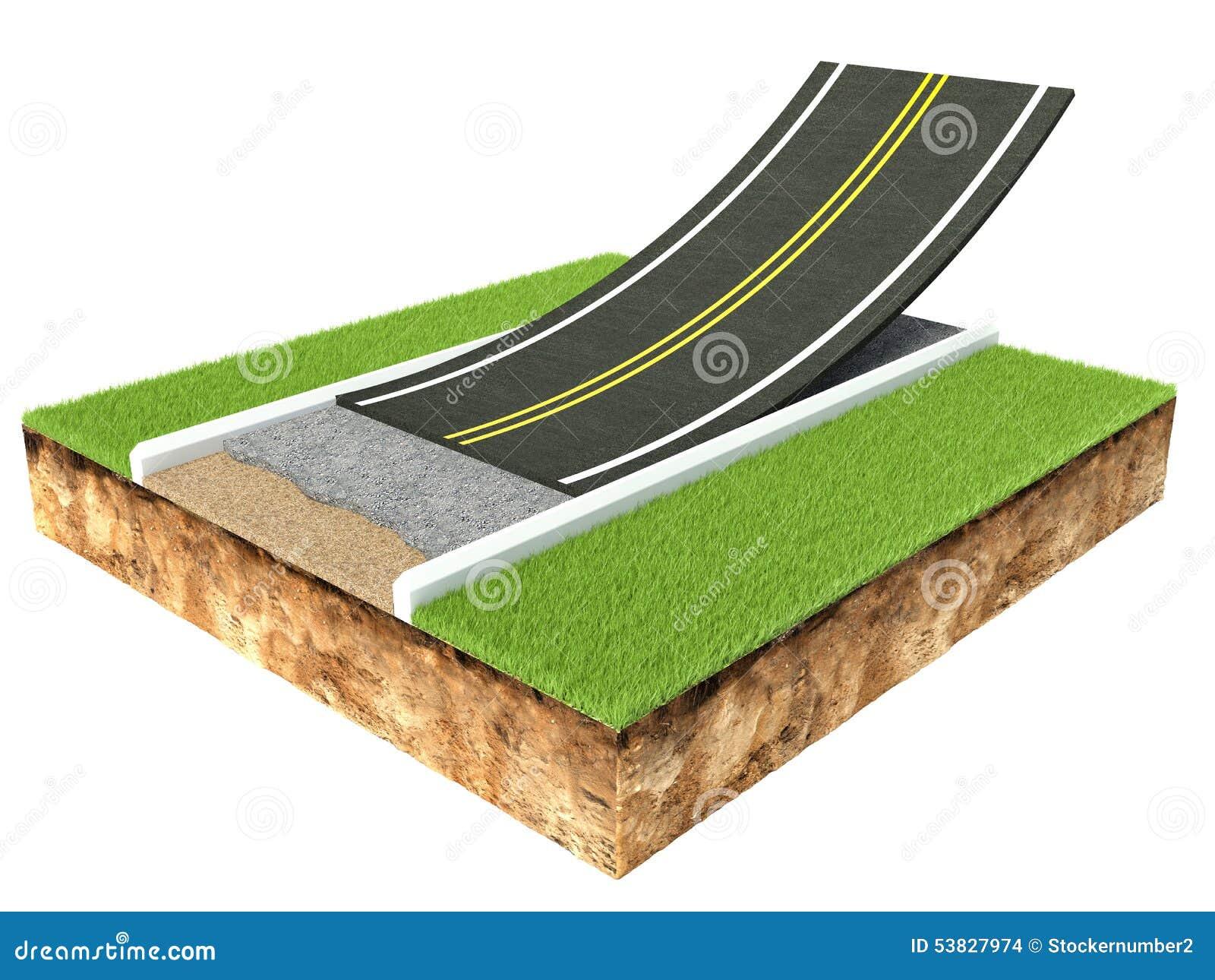 Corte transversal de pavimentación de la carretera de asfalto aislada en blanco