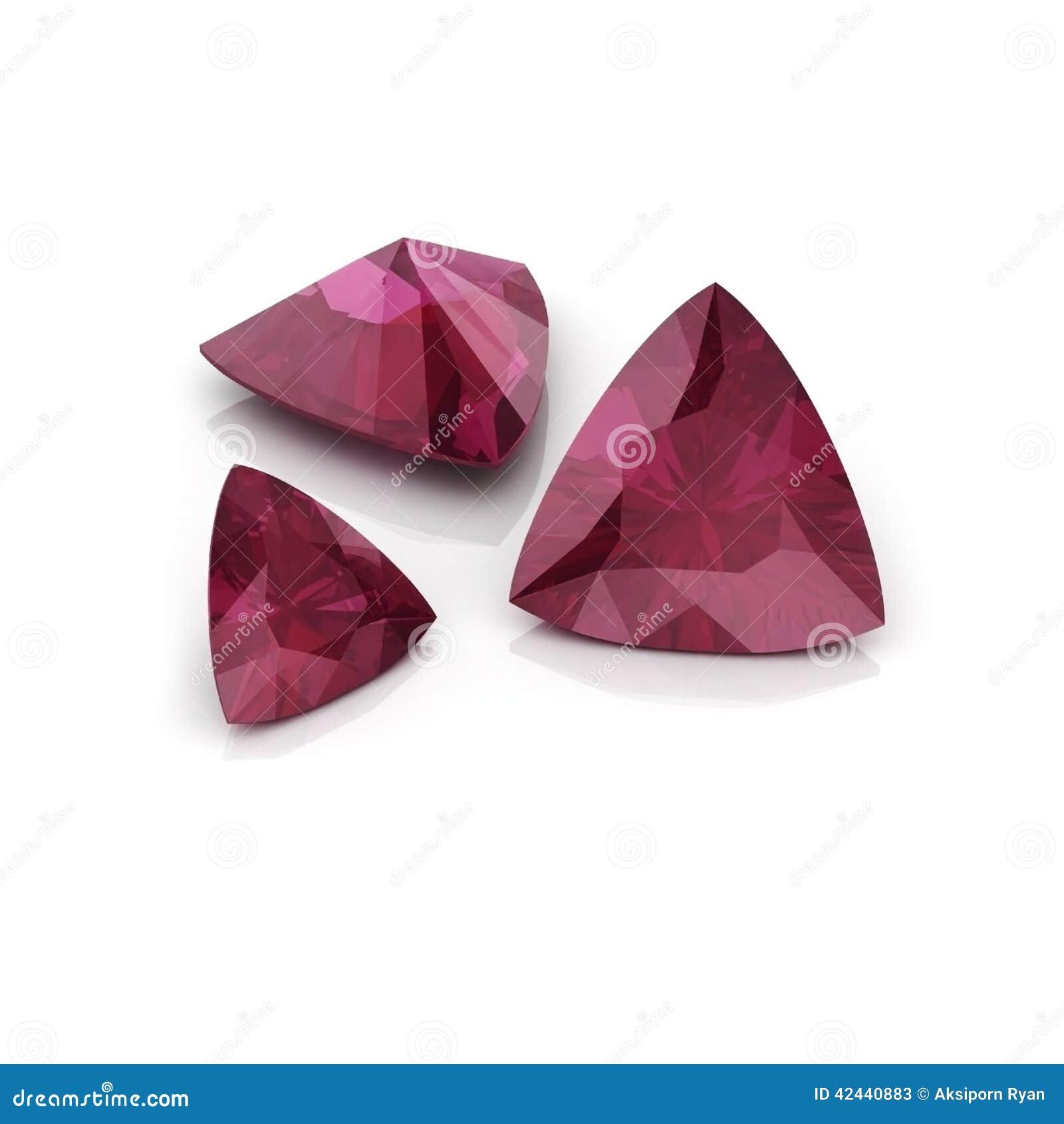 Corte trilliant de rubíes