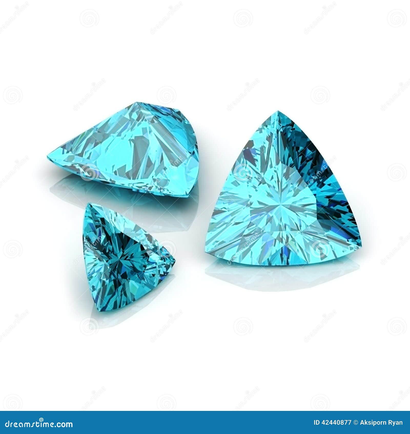Corte trilliant del topacio azul