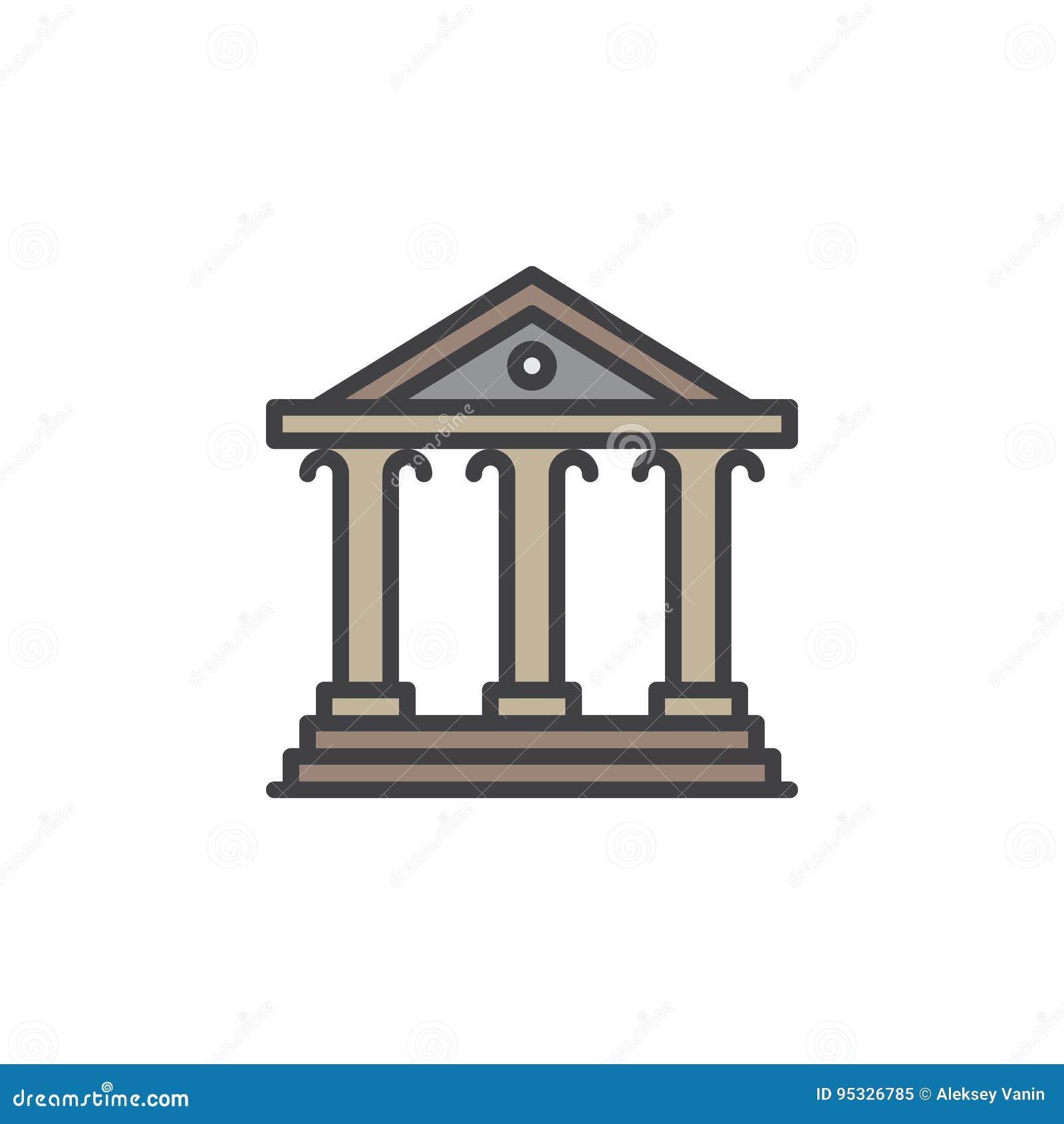 Corteje la línea de fachada icono, muestra llenada del vector del esquema, pictograma colorido linear aislado en blanco