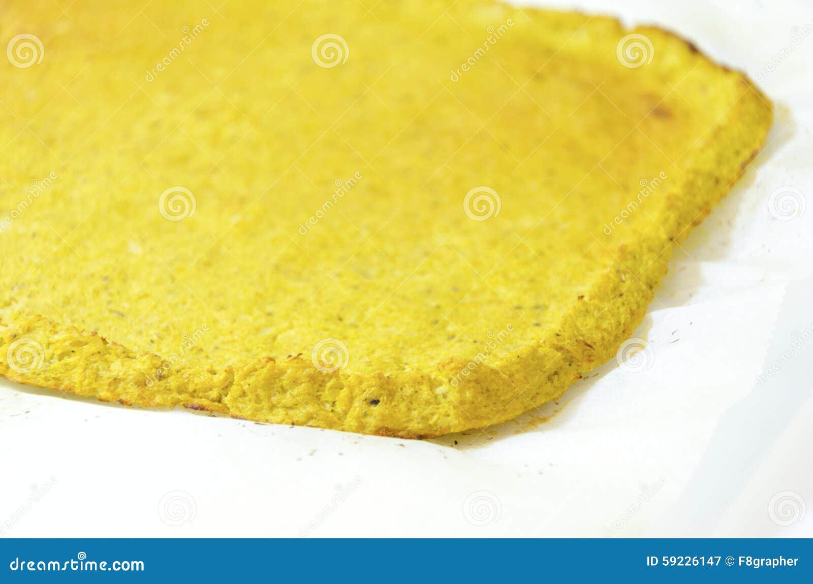 Corteza de la pizza de la coliflor