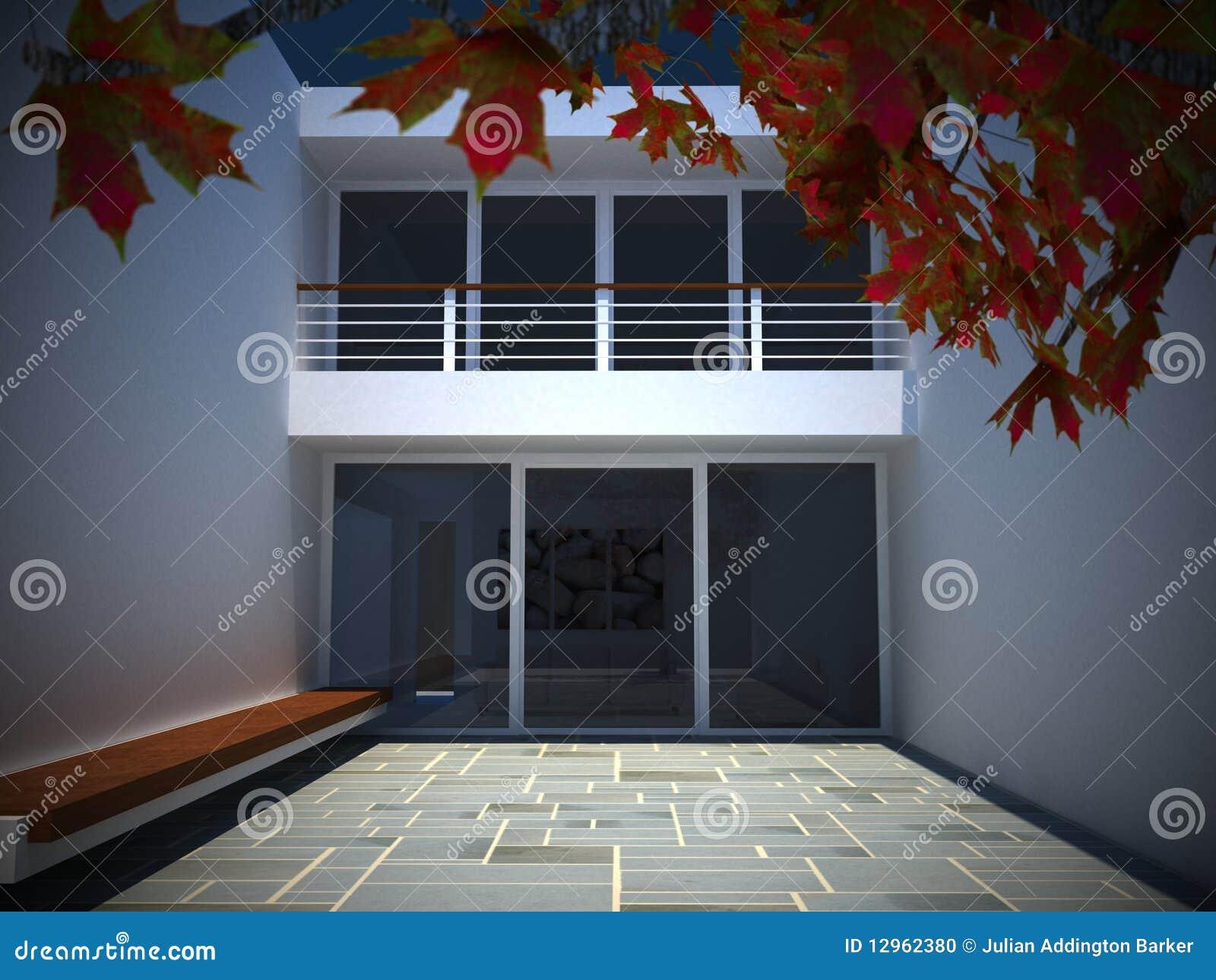 Cortile moderno della casa illustrazione di stock for Casa di tudor moderno