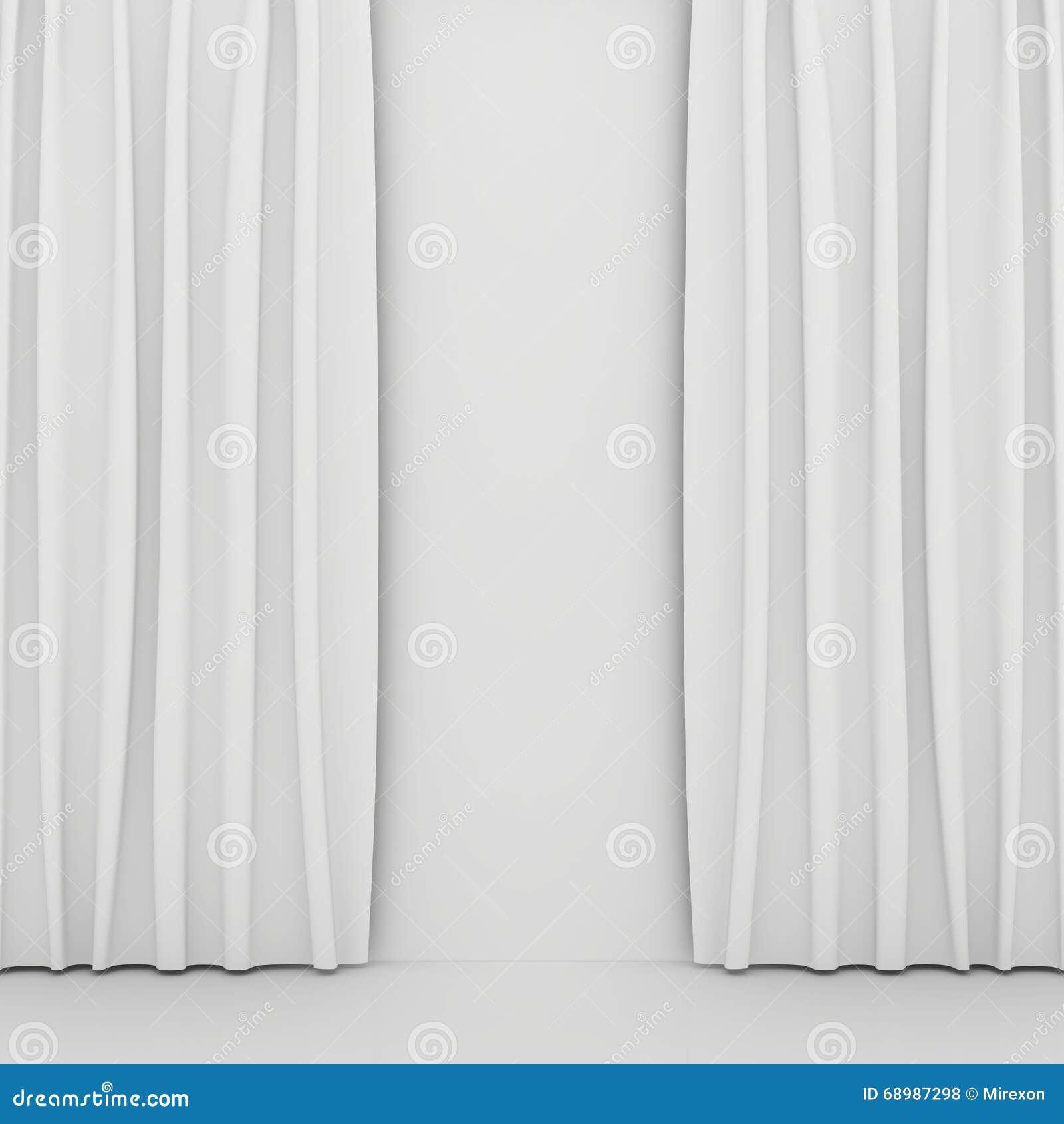 A cortina branca vazia ou drapeja no fundo branco-cinzento