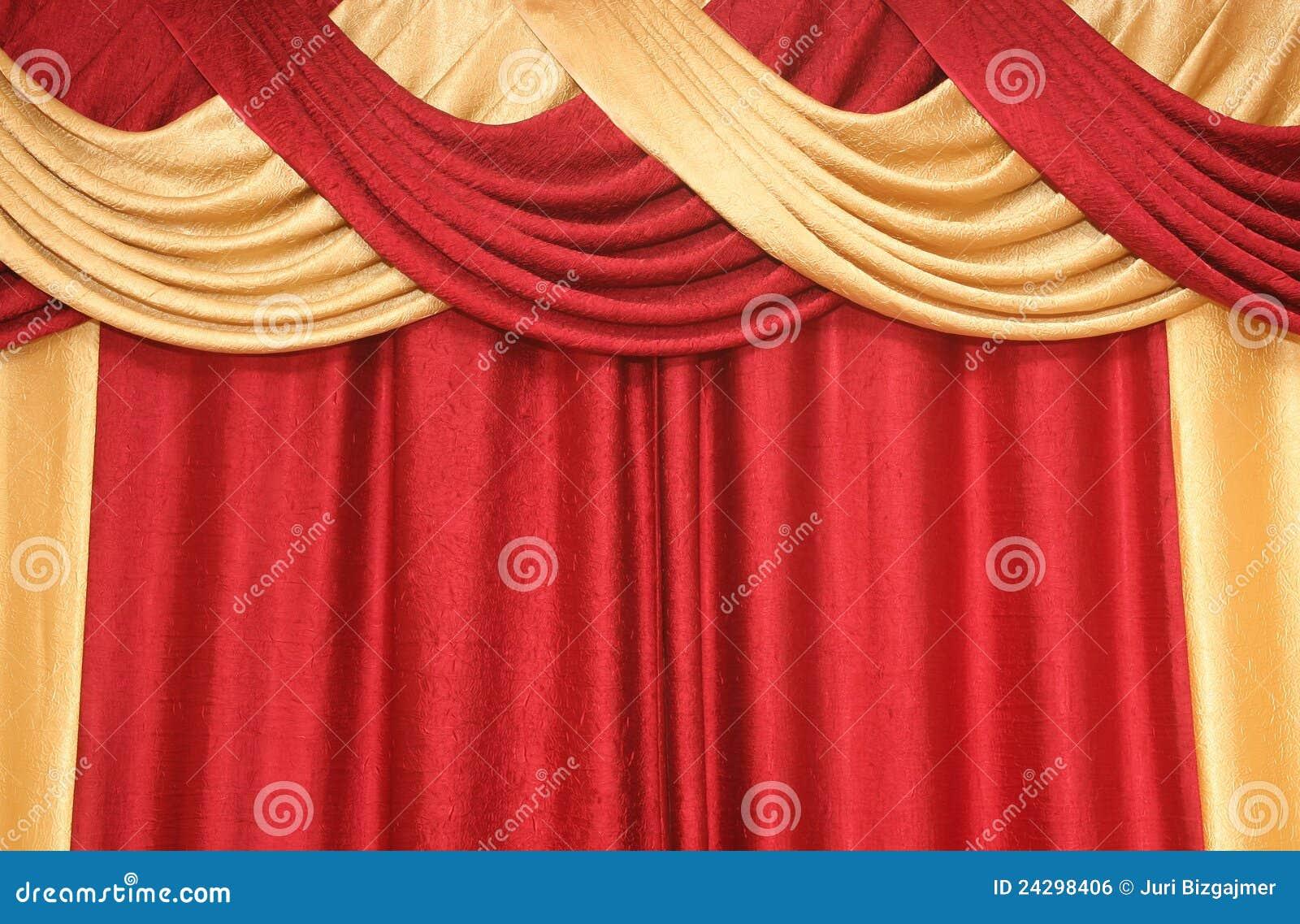 Cortina del color rojo y amarillo imagen de archivo libre - Colores de cortinas ...