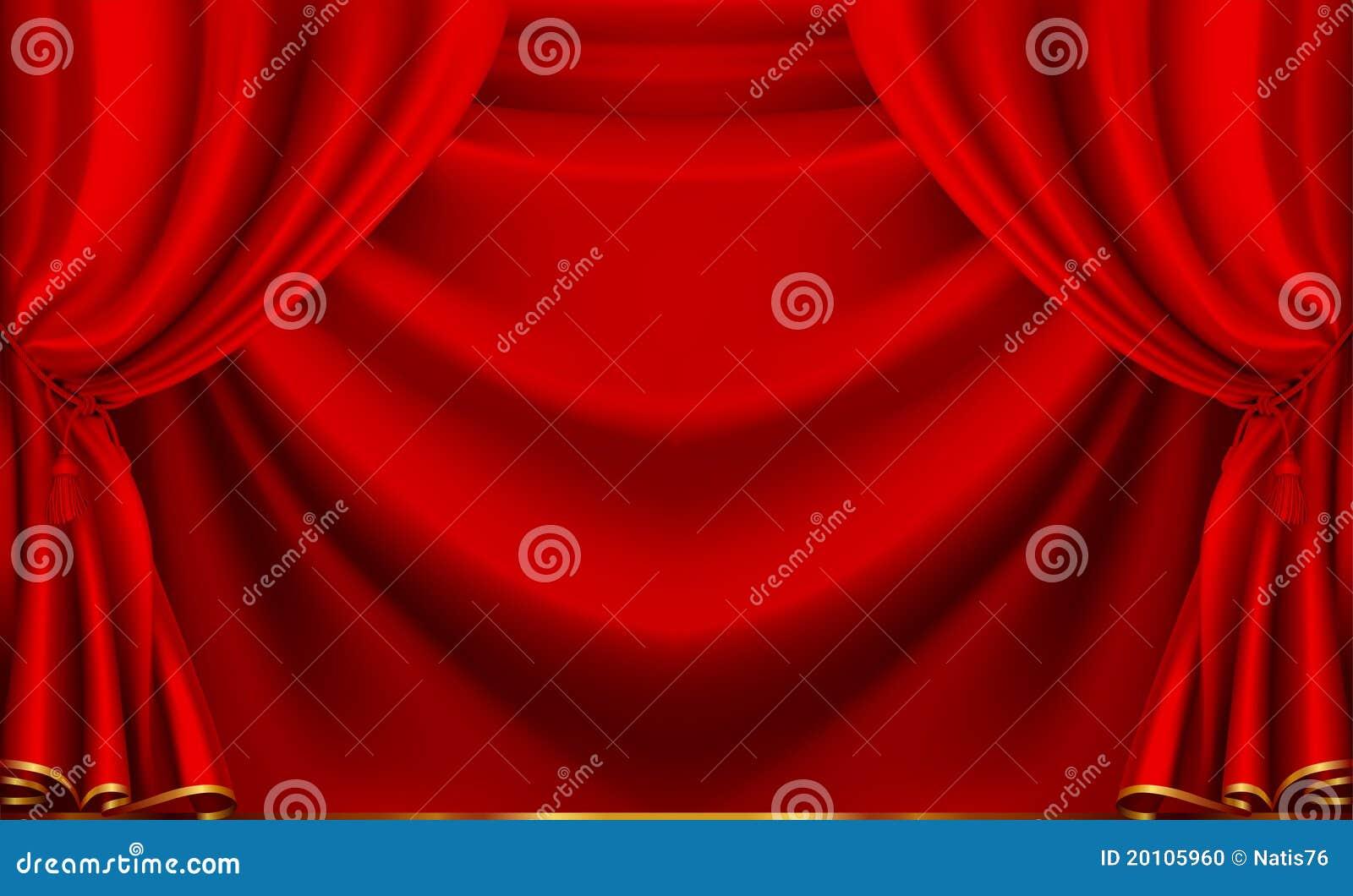 Cortina Vermelha Do Teatro Foto De Stock