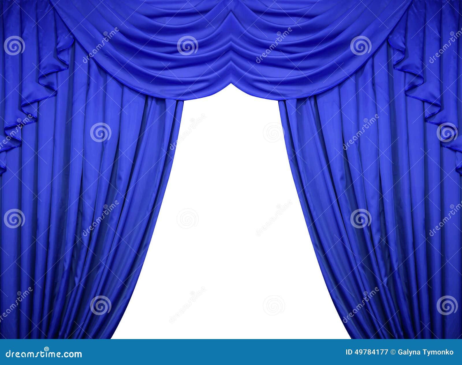 Cortinas azuis em um fundo branco imagem de stock imagem Fotos de cortinas