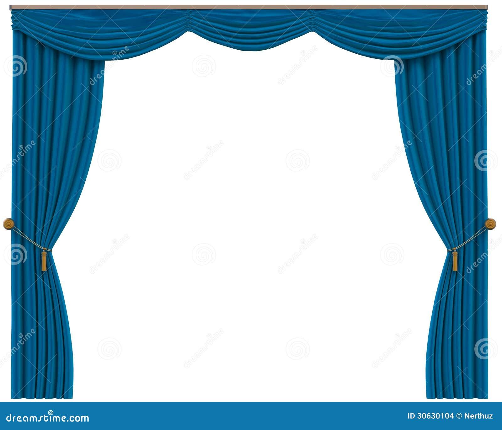 Cortinas azules aisladas en el fondo blanco imagenes de for Cortinas en blanco