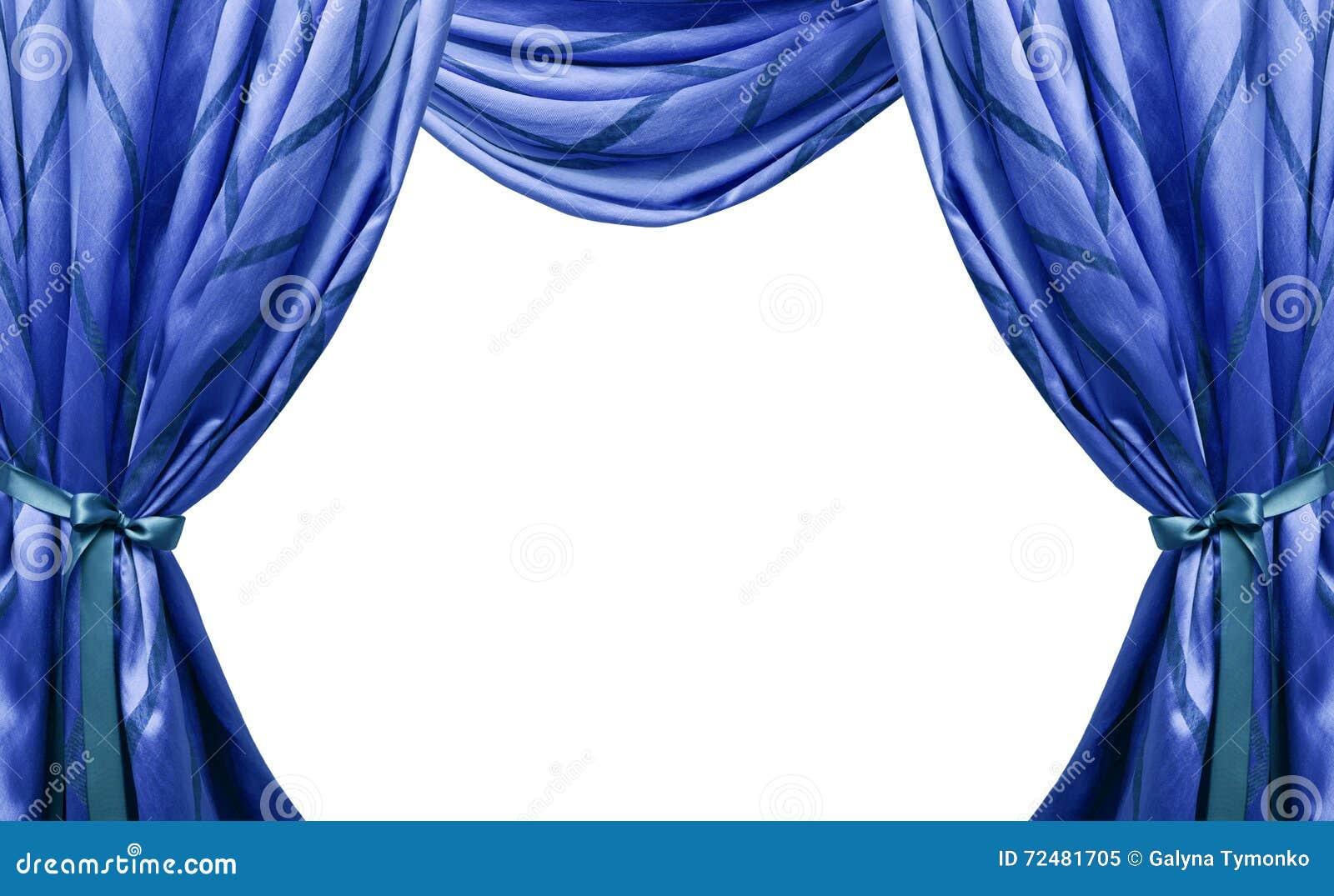 Cortinas azules hermosas aisladas en el fondo blanco for Cortinas azules baratas