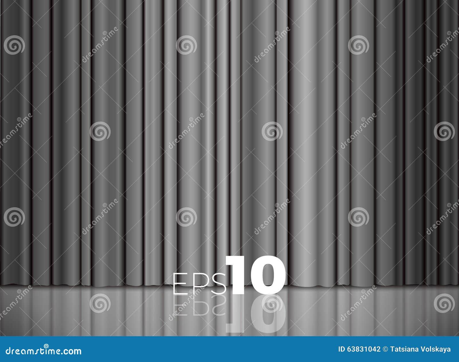 Cortinas cerradas grises o de plata de la tela de sat n for Cortinas gris plata