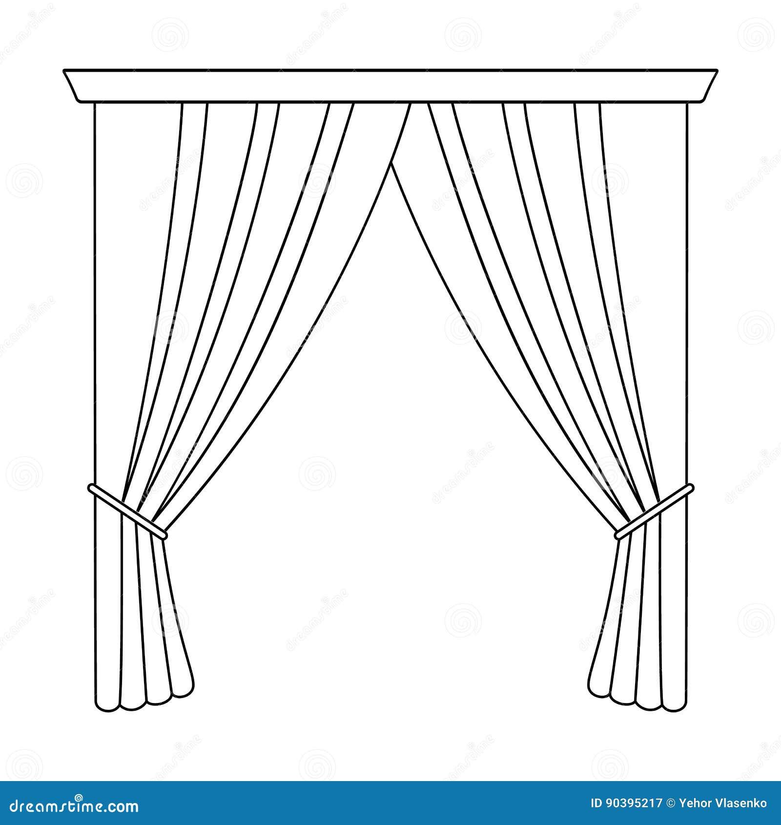 Cortinas com cortina na cornija As cortinas escolhem o ícone na Web da ilustração do estoque do símbolo do vetor do estilo do esb