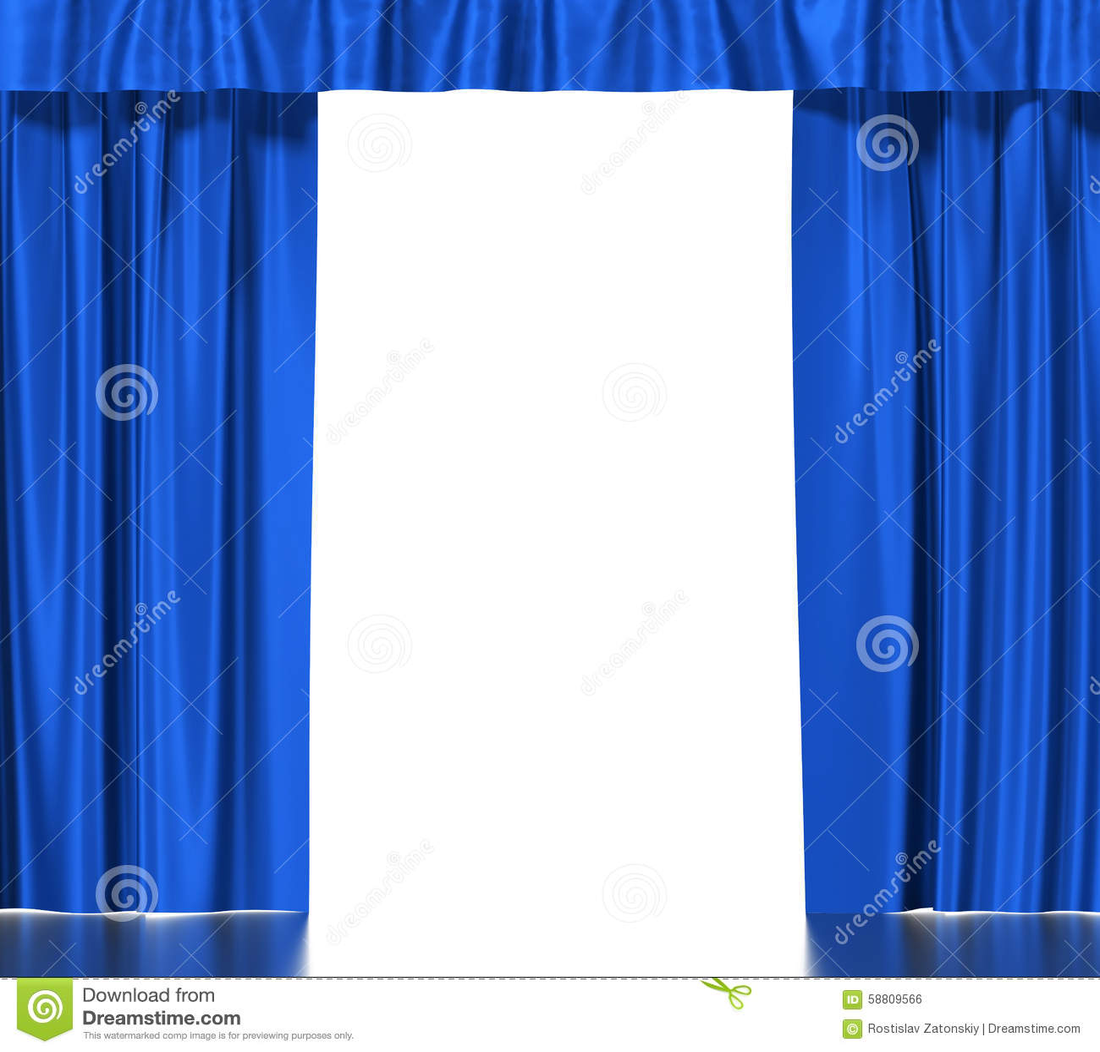 Cortinas de seda azules con la liga aislada en blanco for Cortinas azules baratas