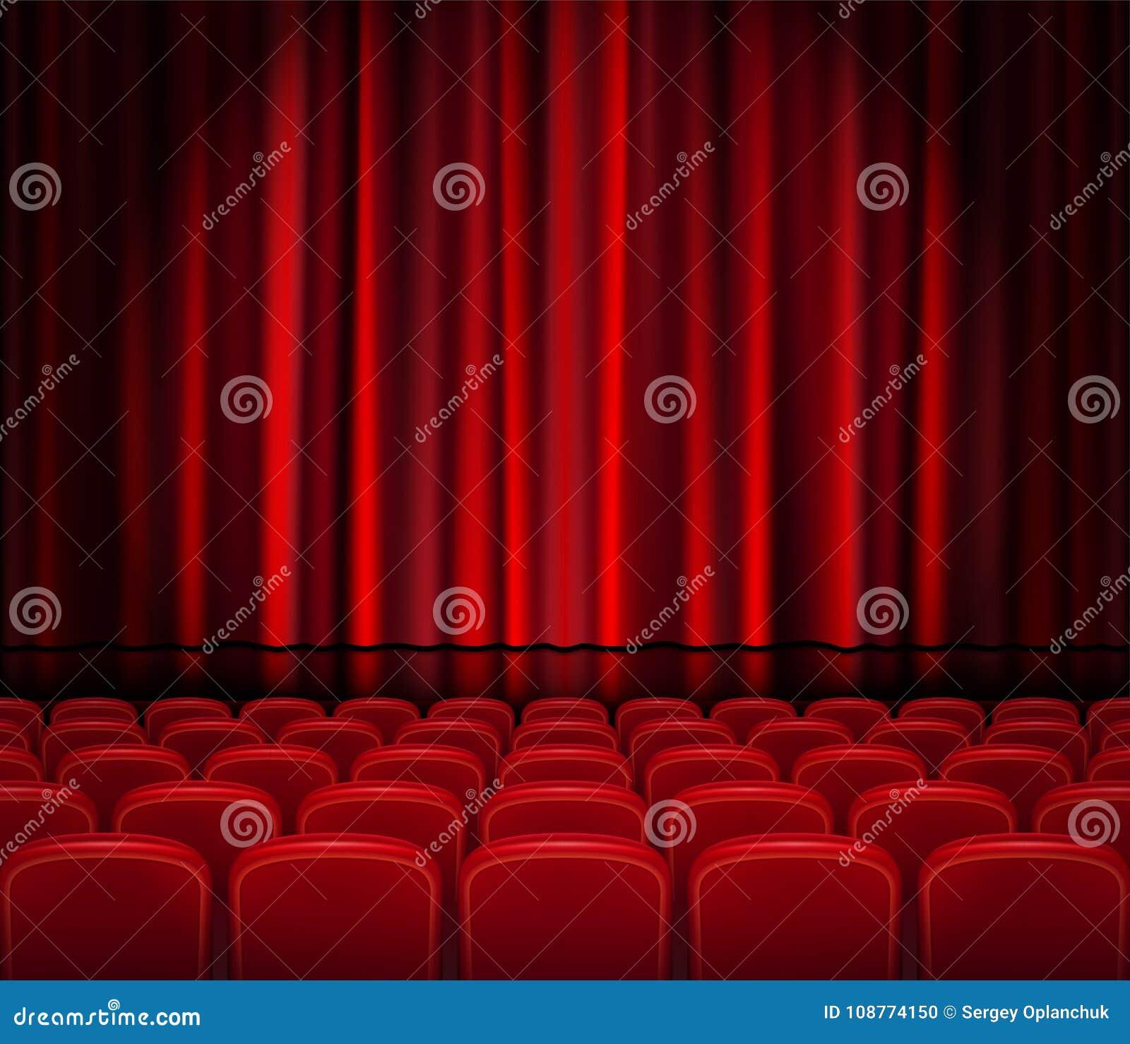 Cortinas rojas cerradas con los asientos en un teatro o una ceremonia Pasillo realista del teatro, ópera o escena del cine para s