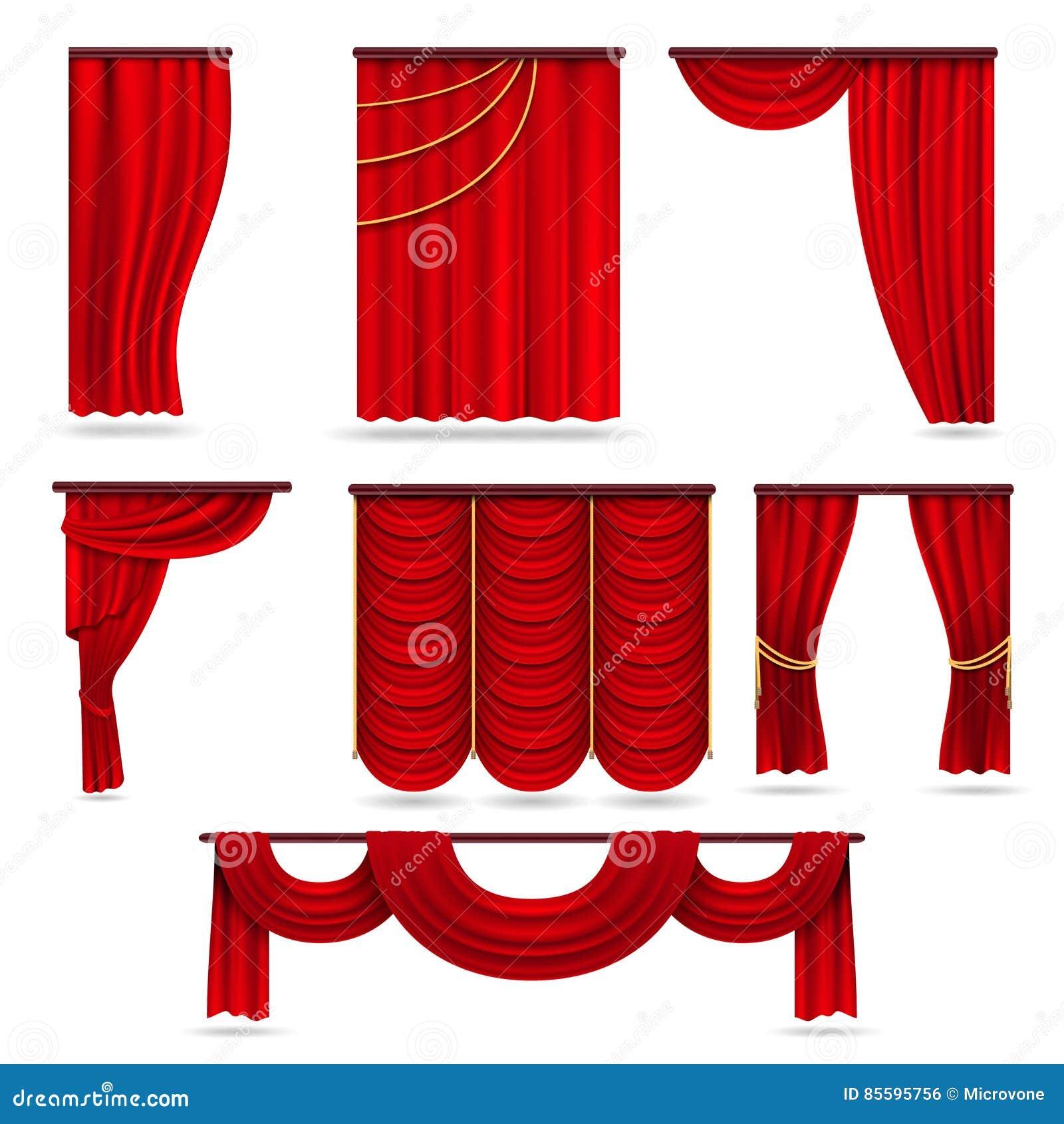 Cortinas rojas de la etapa del terciopelo, pañería del teatro del escarlata aislada en el sistema blanco del vector