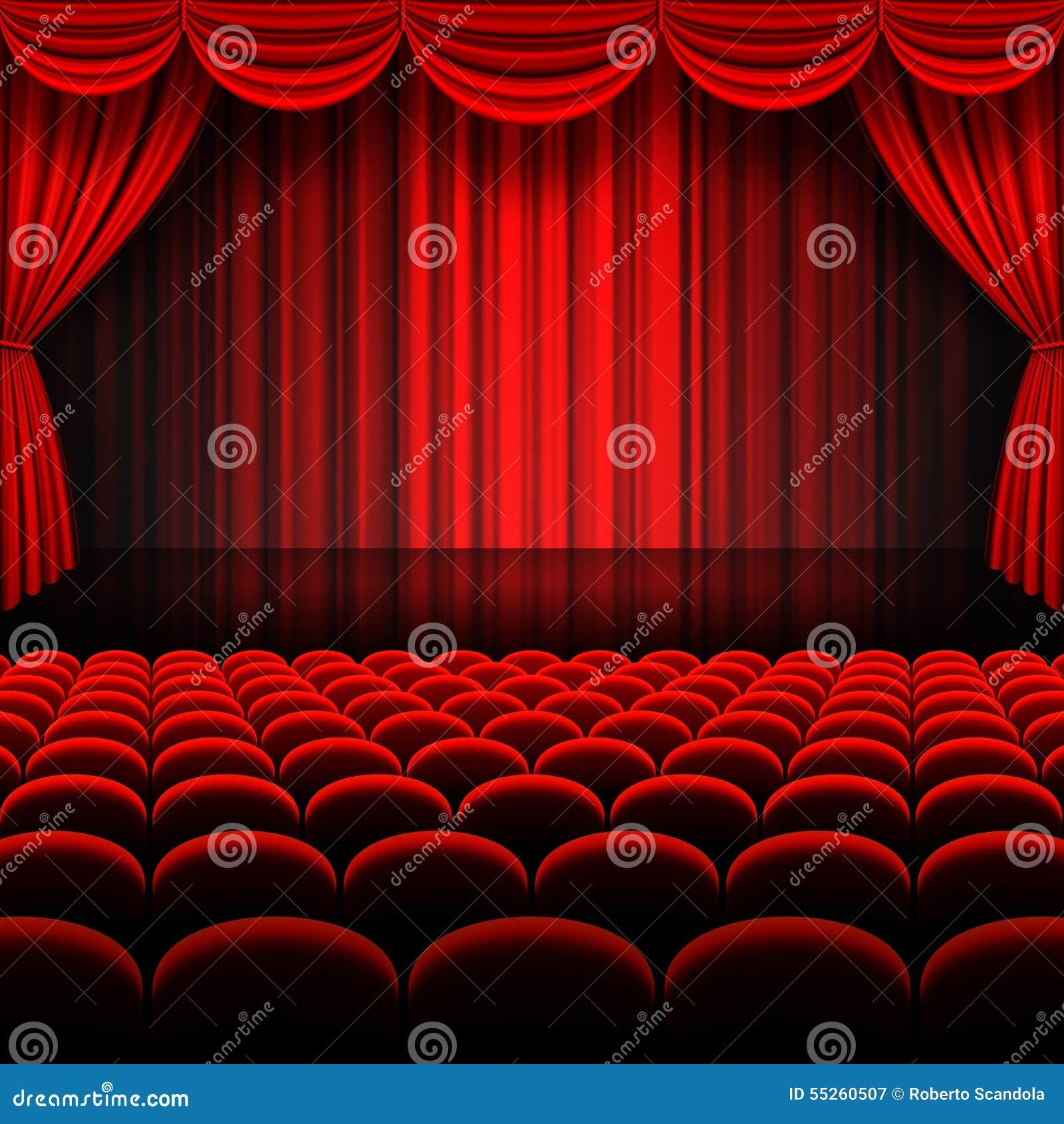 cortinas rojas de la etapa del vector ilustracin del vector