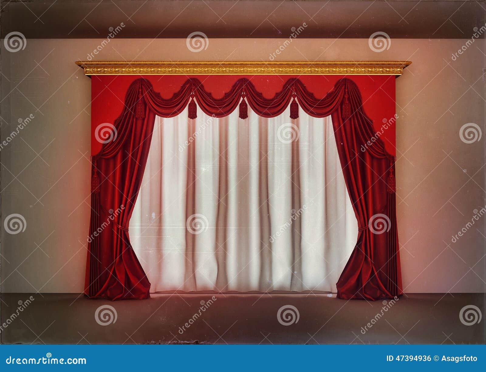 cortinas rojas de lujo en sitio vaco stock de ilustracin