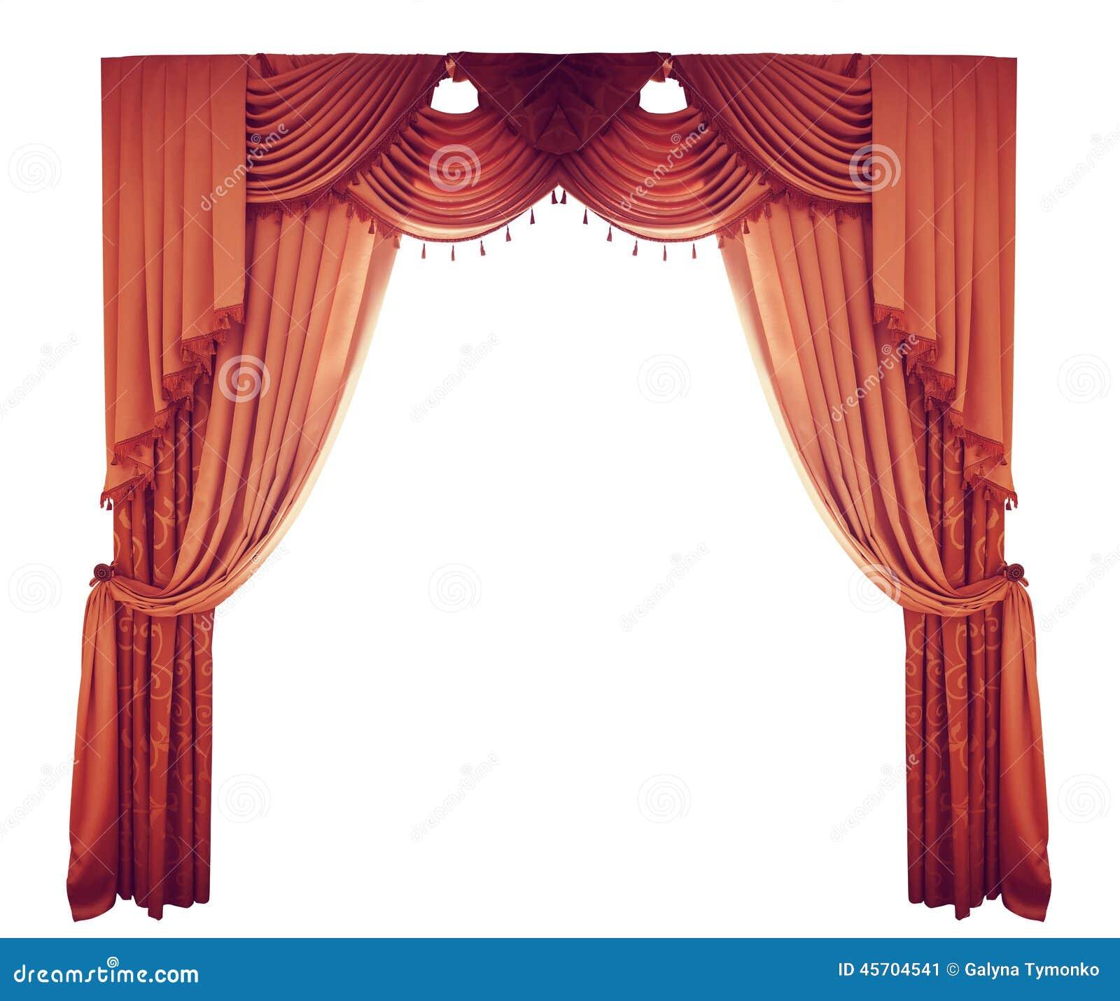 cortinas rojas en un fondo blanco foto de archivo